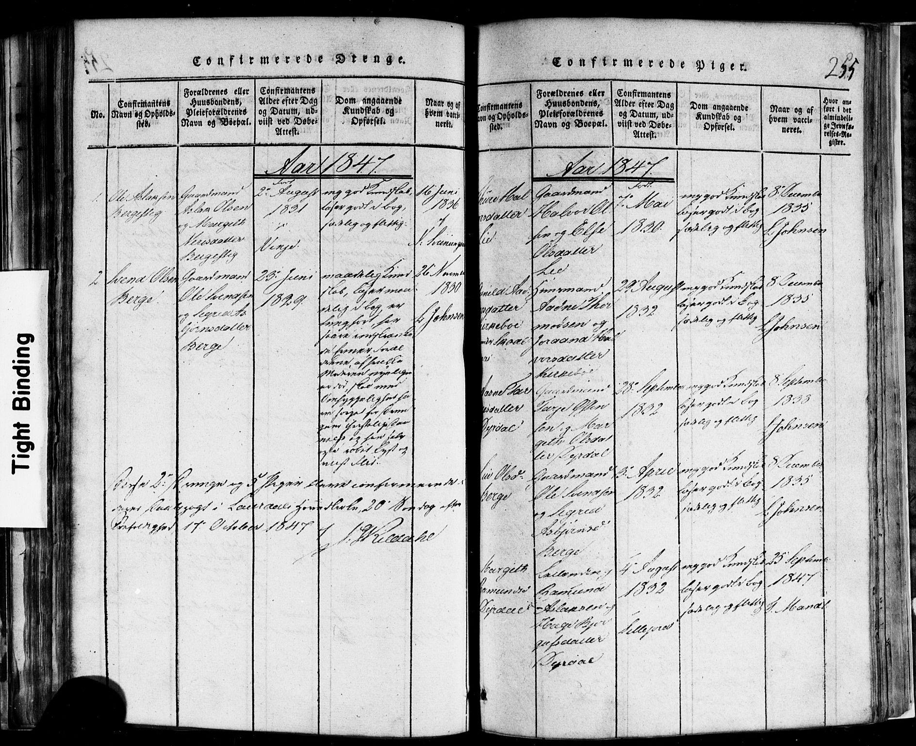 SAKO, Rauland kirkebøker, F/Fa/L0002: Ministerialbok nr. 2, 1815-1860, s. 255