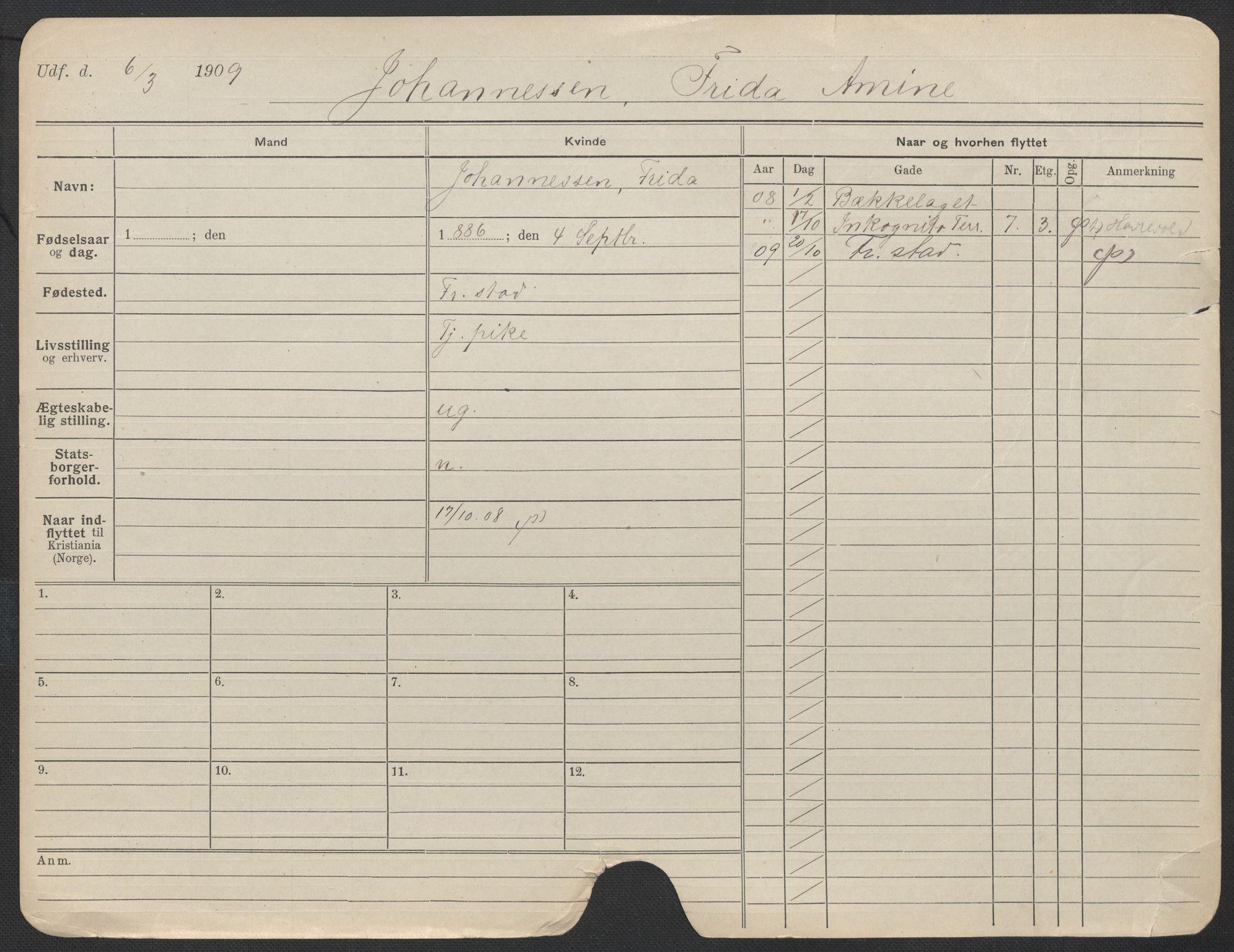 SAO, Oslo folkeregister, Registerkort, F/Fa/Fac/L0017: Kvinner, 1906-1914, s. 750a