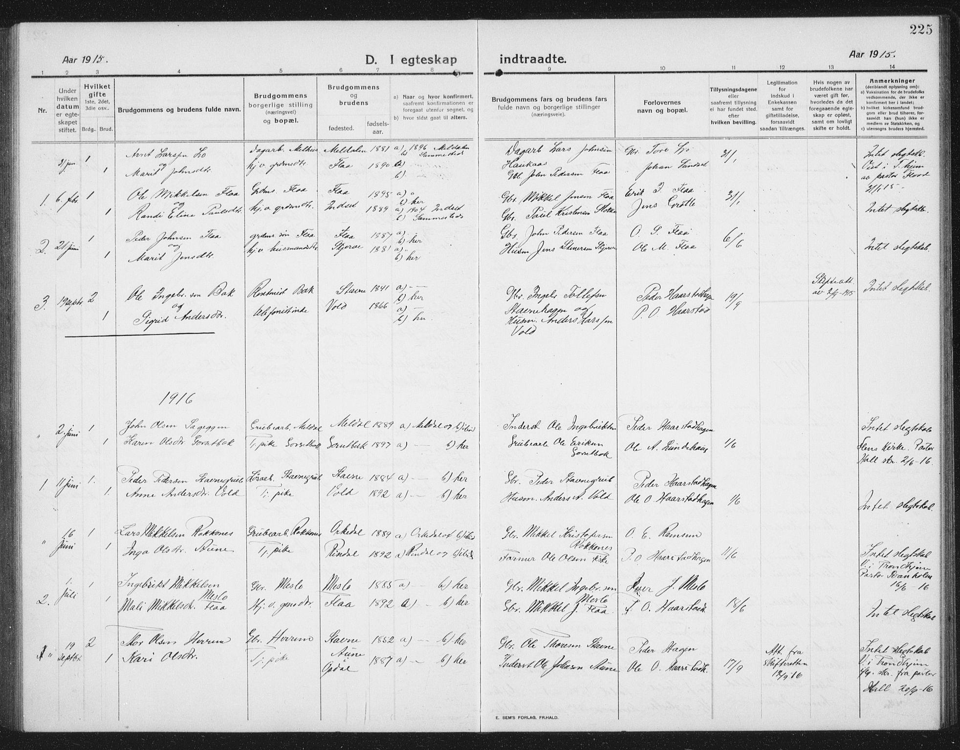SAT, Ministerialprotokoller, klokkerbøker og fødselsregistre - Sør-Trøndelag, 674/L0877: Klokkerbok nr. 674C04, 1913-1940, s. 225