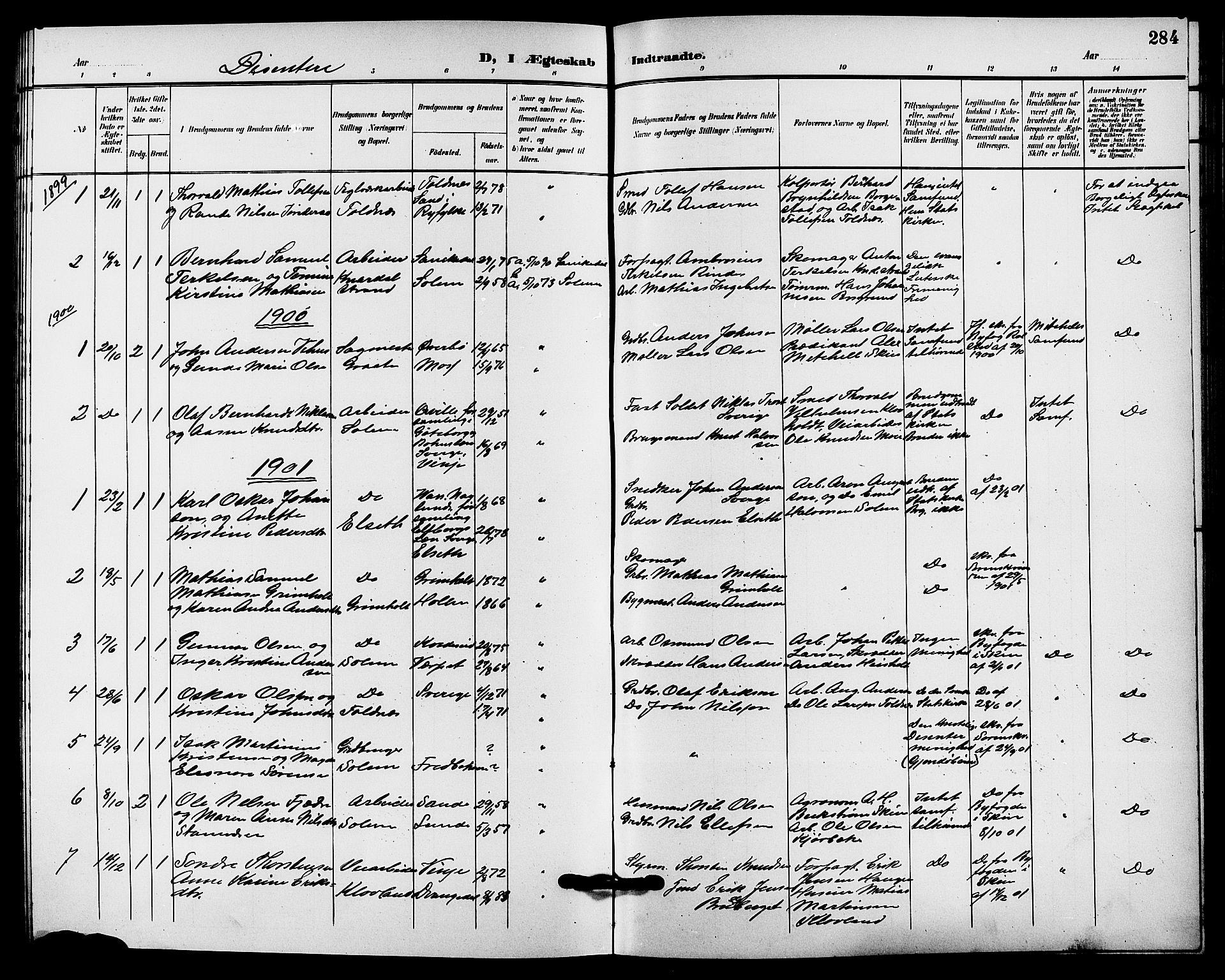 SAKO, Solum kirkebøker, G/Ga/L0008: Klokkerbok nr. I 8, 1898-1909, s. 284
