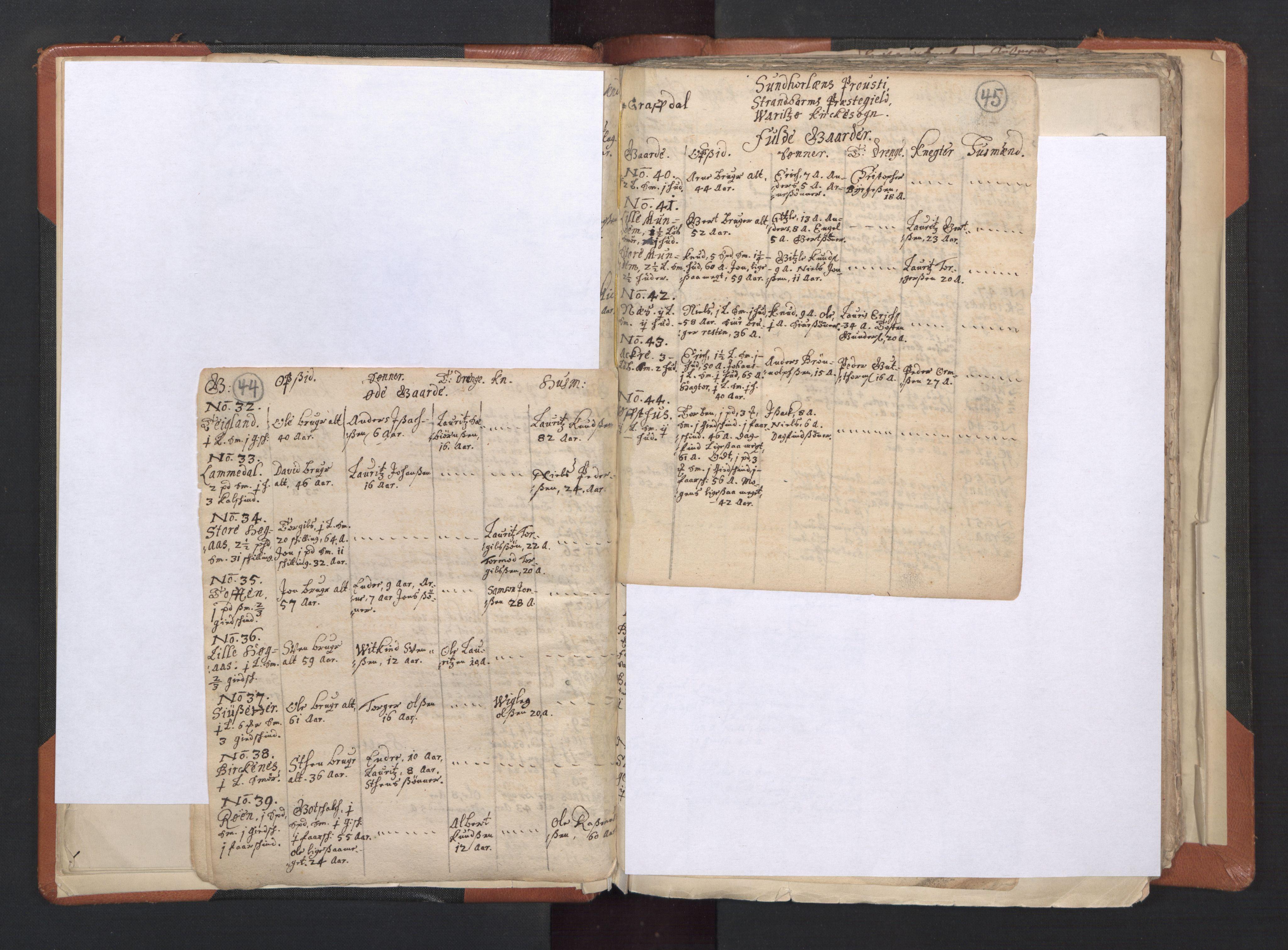 RA, Sogneprestenes manntall 1664-1666, nr. 20: Sunnhordland prosti, 1664-1666, s. 44-45