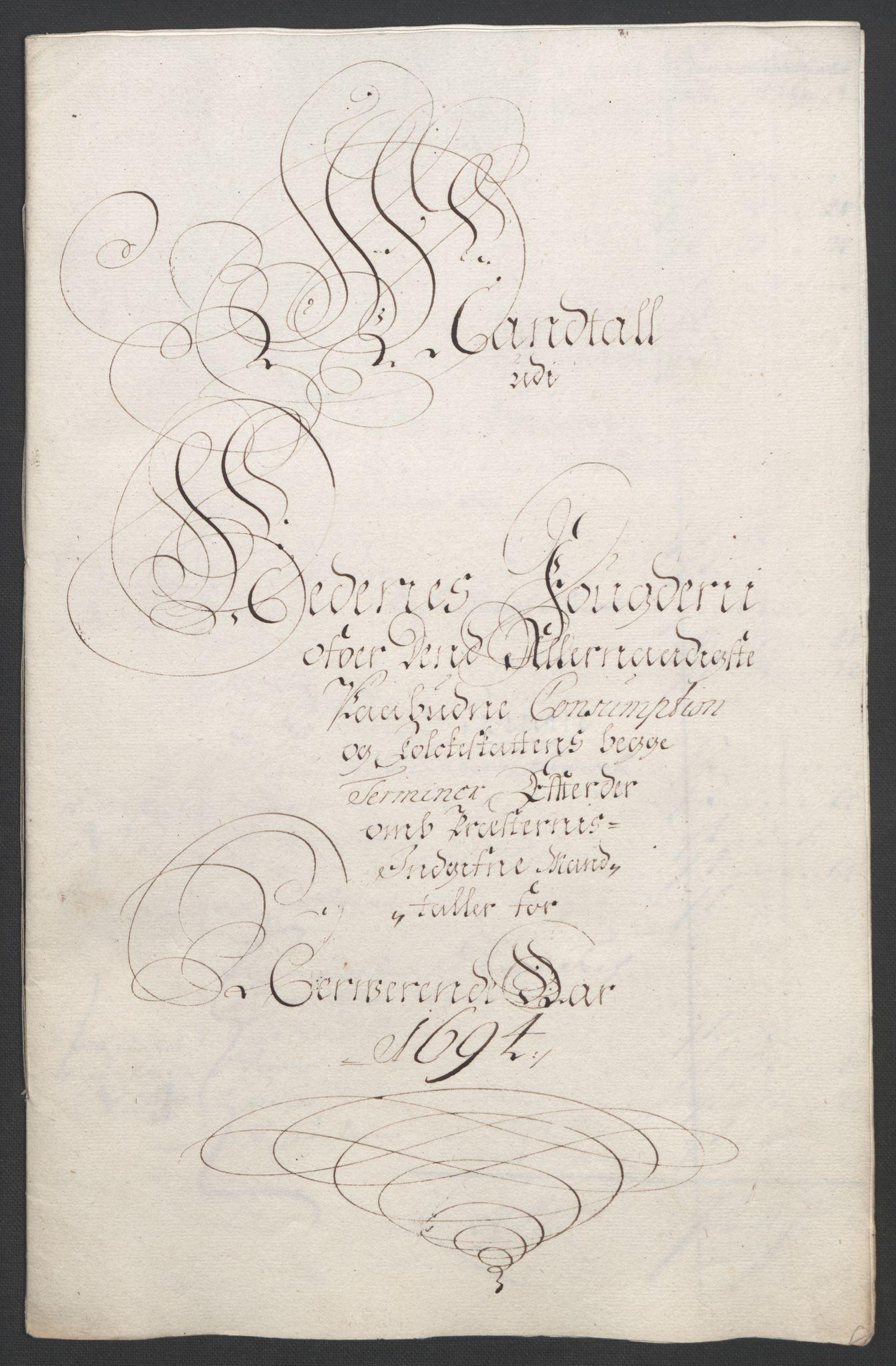 RA, Rentekammeret inntil 1814, Reviderte regnskaper, Fogderegnskap, R39/L2312: Fogderegnskap Nedenes, 1693-1695, s. 156