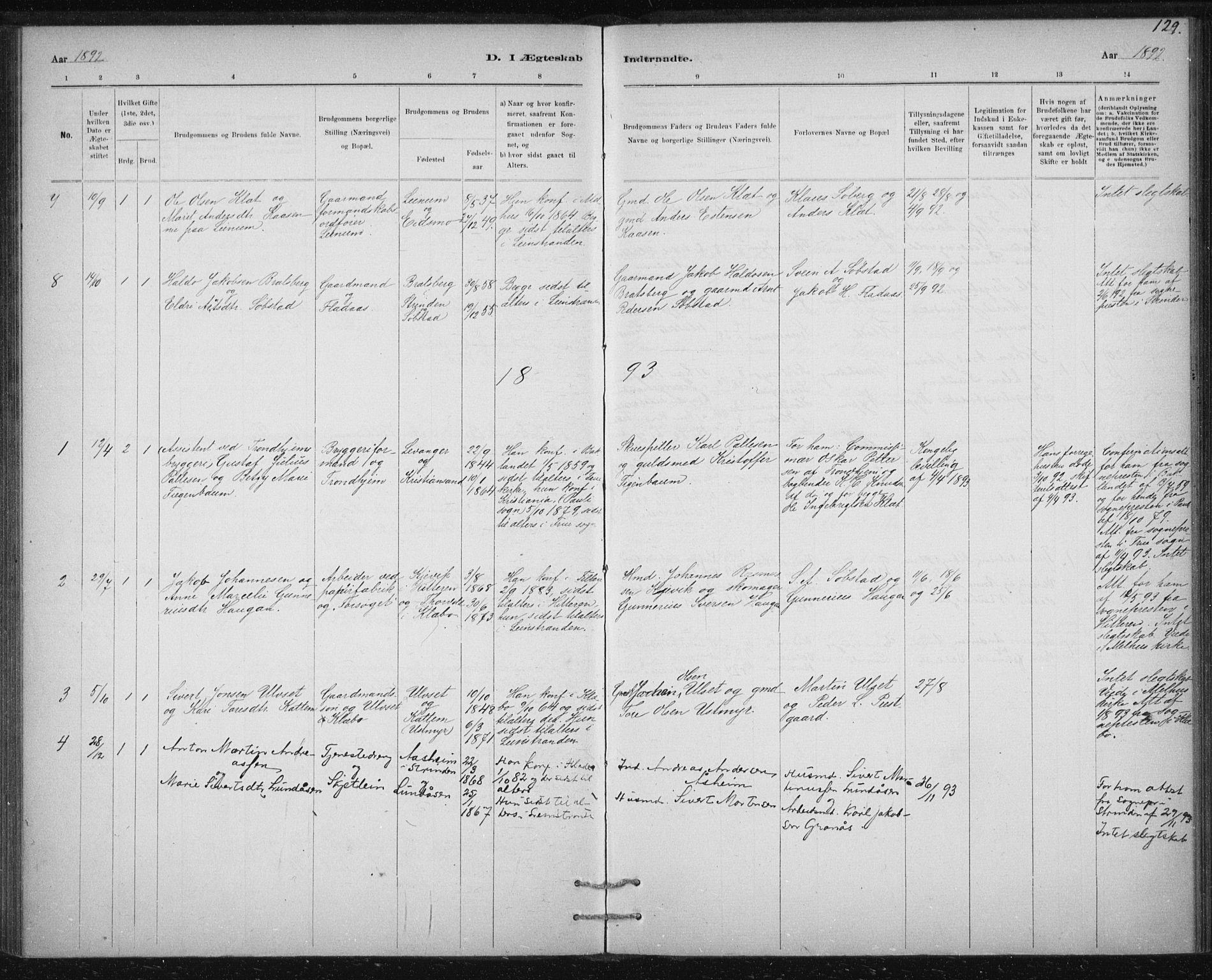 SAT, Ministerialprotokoller, klokkerbøker og fødselsregistre - Sør-Trøndelag, 613/L0392: Ministerialbok nr. 613A01, 1887-1906, s. 129