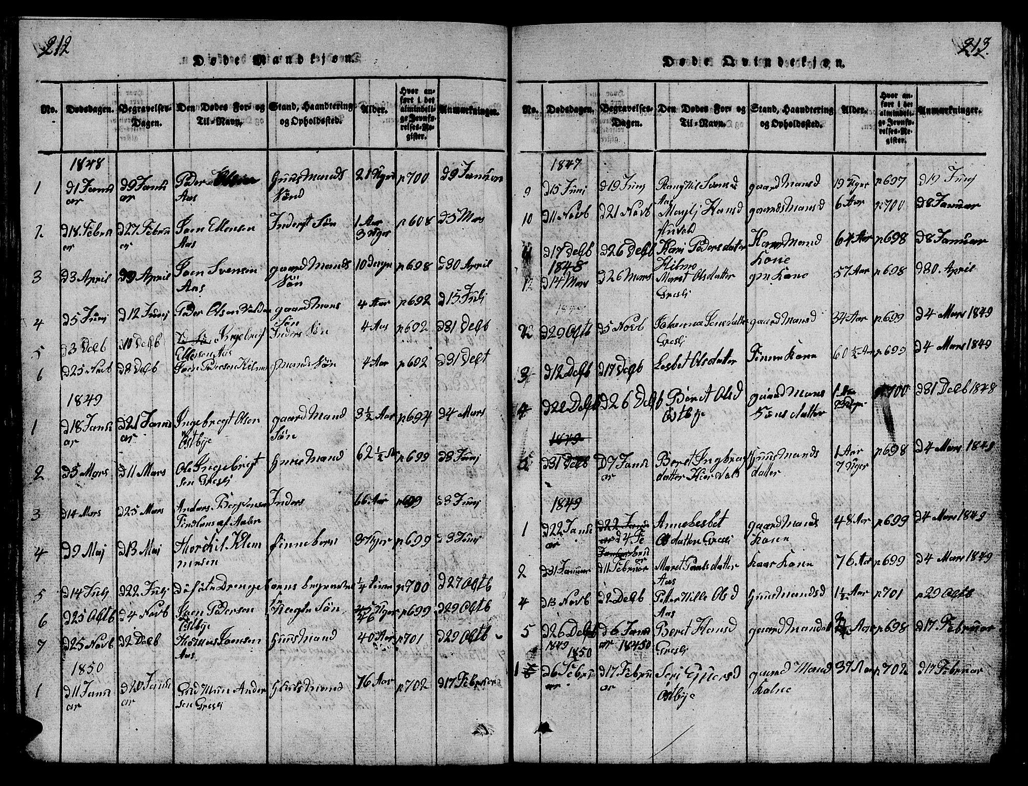 SAT, Ministerialprotokoller, klokkerbøker og fødselsregistre - Sør-Trøndelag, 698/L1164: Klokkerbok nr. 698C01, 1816-1861, s. 212-213