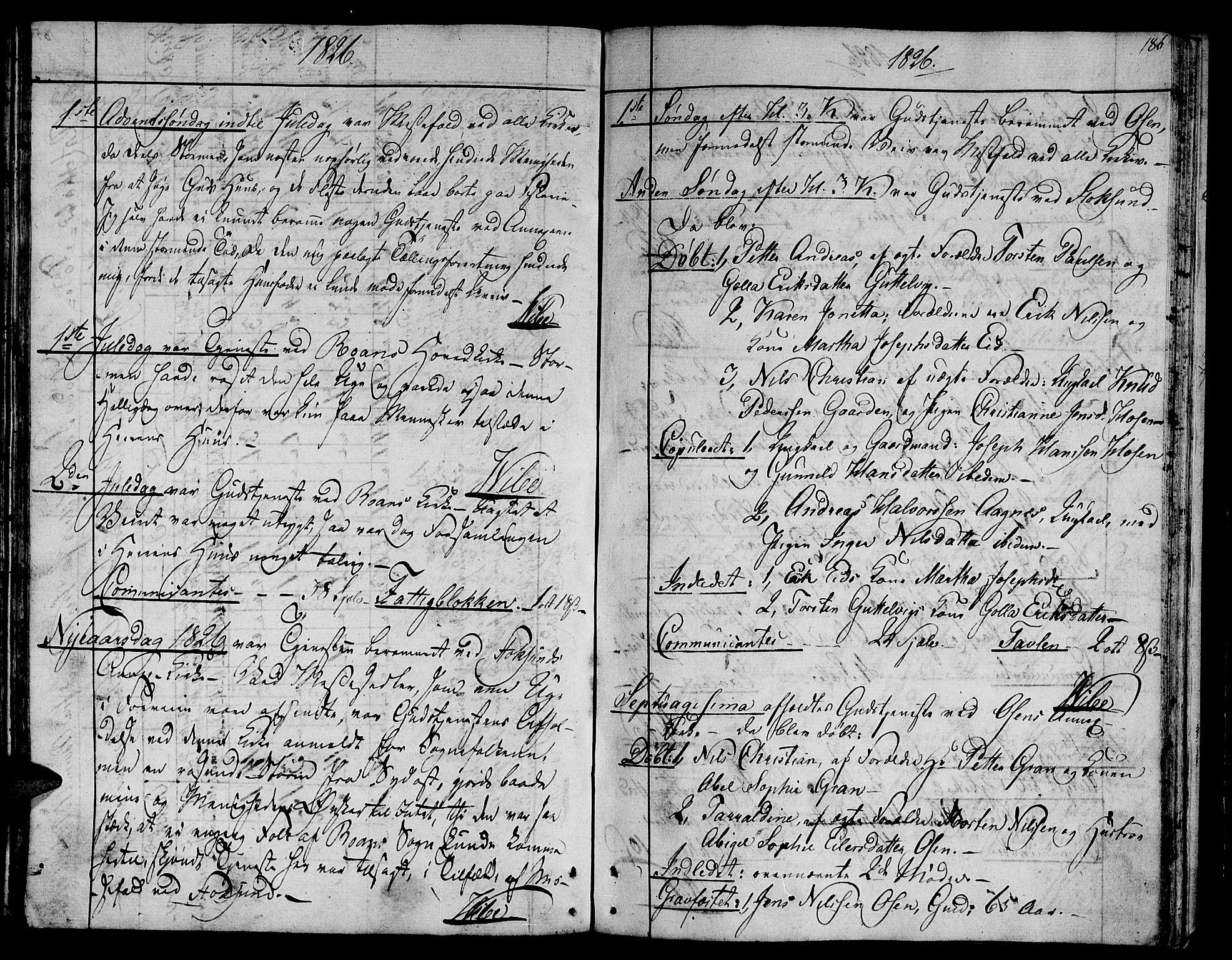 SAT, Ministerialprotokoller, klokkerbøker og fødselsregistre - Sør-Trøndelag, 657/L0701: Ministerialbok nr. 657A02, 1802-1831, s. 186