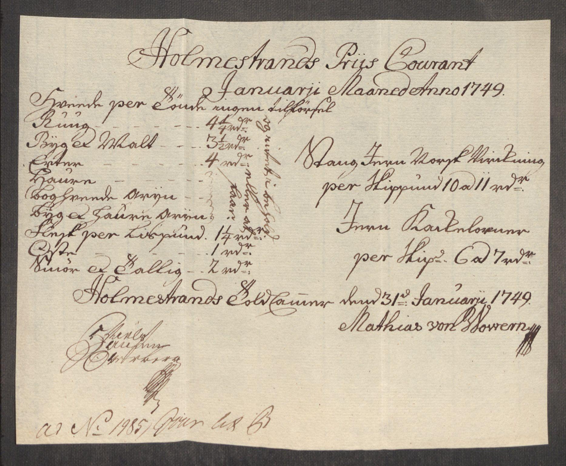 RA, Rentekammeret inntil 1814, Realistisk ordnet avdeling, Oe/L0004: [Ø1]: Priskuranter, 1749-1752, s. 70