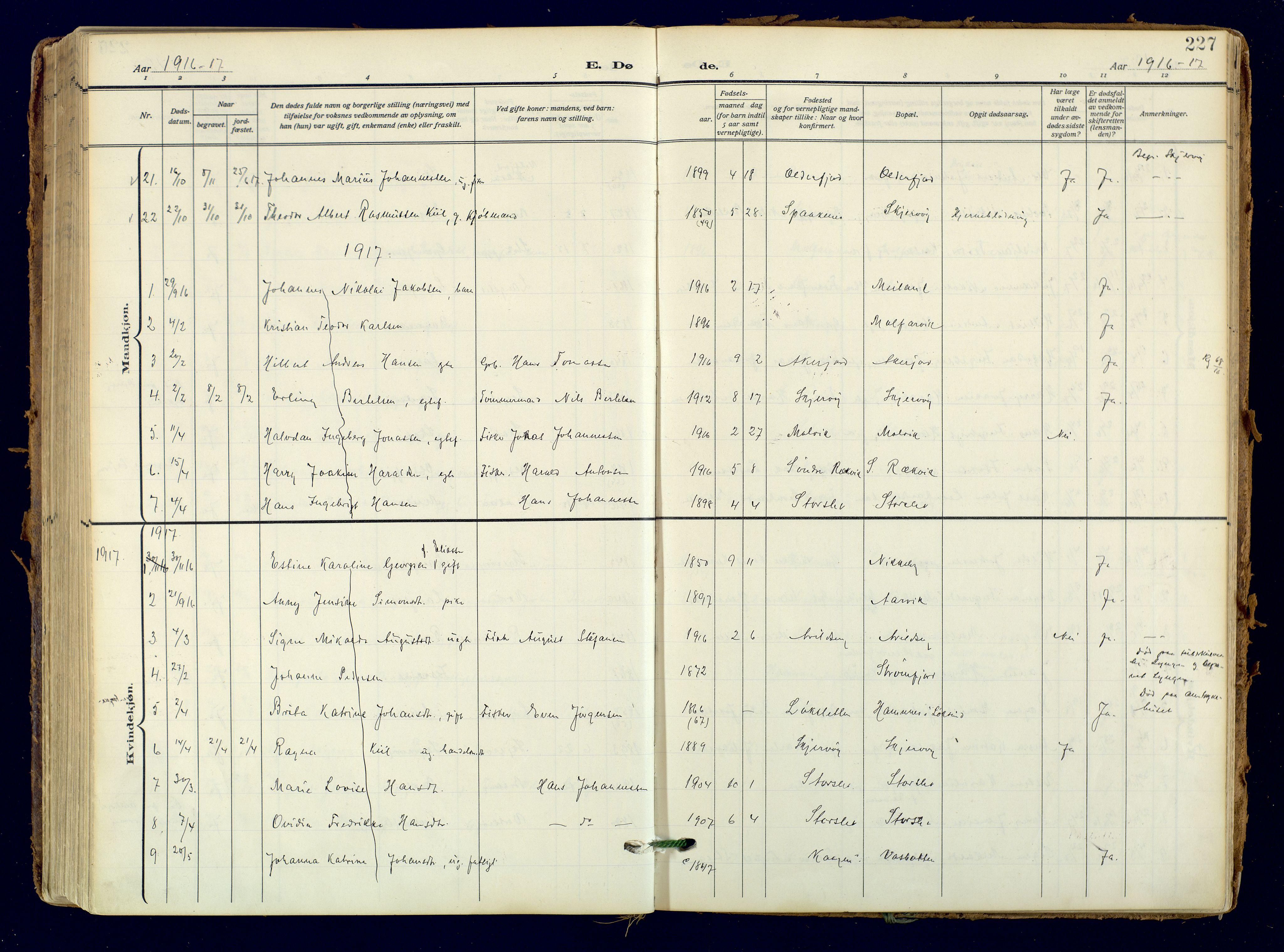 SATØ, Skjervøy sokneprestkontor, H/Ha/Haa: Ministerialbok nr. 18, 1910-1926, s. 227