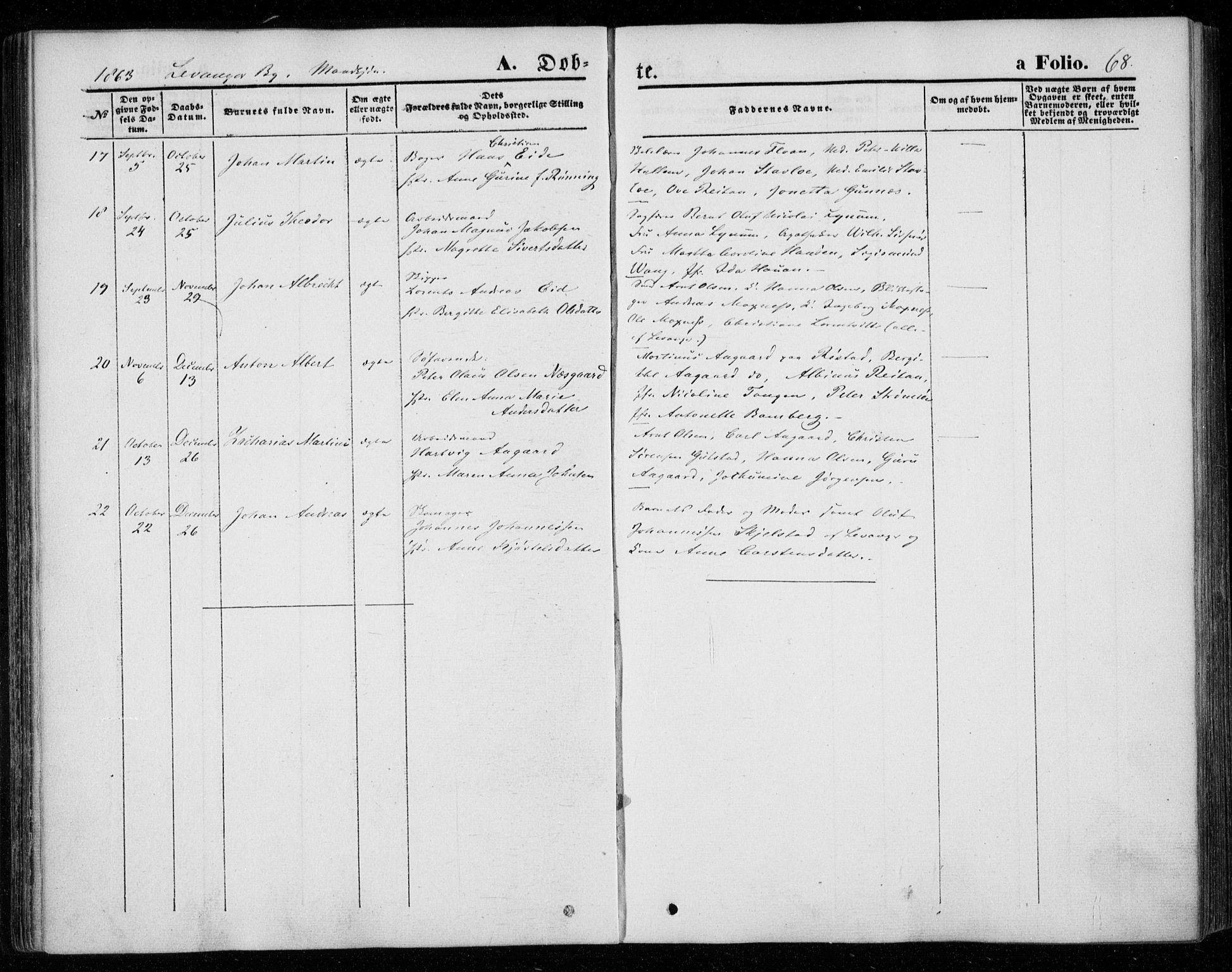 SAT, Ministerialprotokoller, klokkerbøker og fødselsregistre - Nord-Trøndelag, 720/L0184: Ministerialbok nr. 720A02 /1, 1855-1863, s. 68