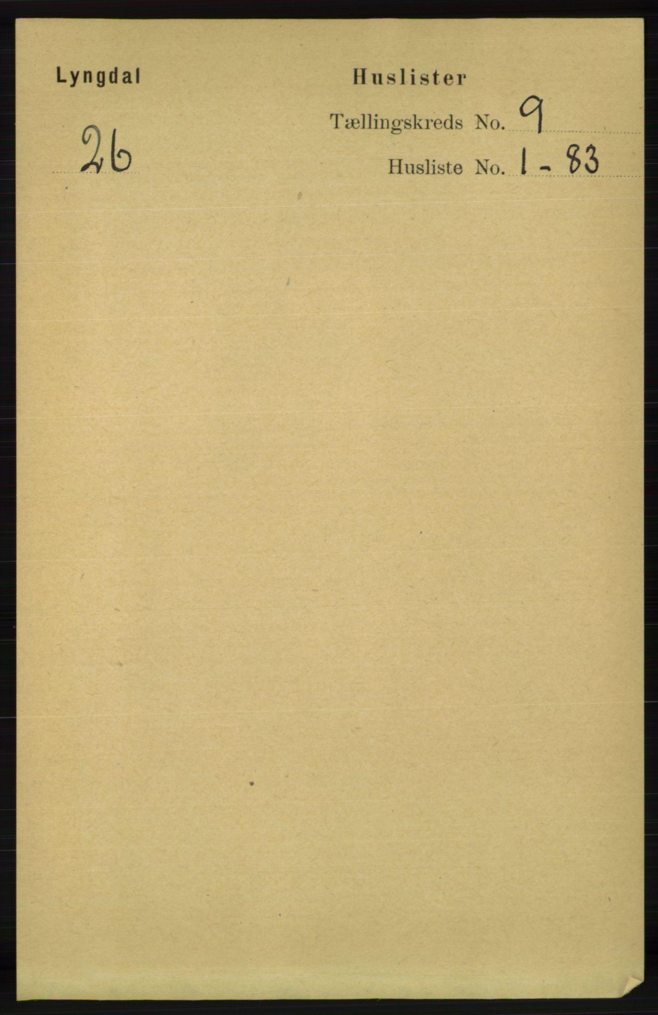 RA, Folketelling 1891 for 1032 Lyngdal herred, 1891, s. 3608