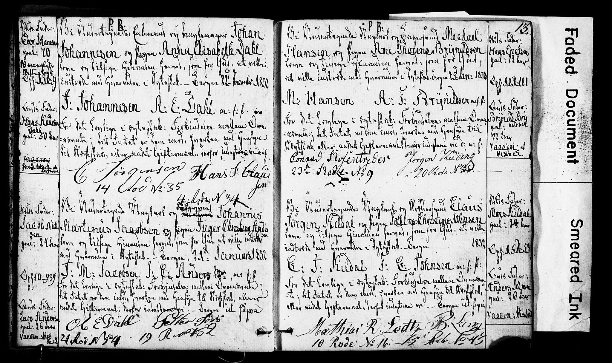 SAB, Domkirken Sokneprestembete, Forlovererklæringer nr. II.5.3, 1832-1845, s. 13