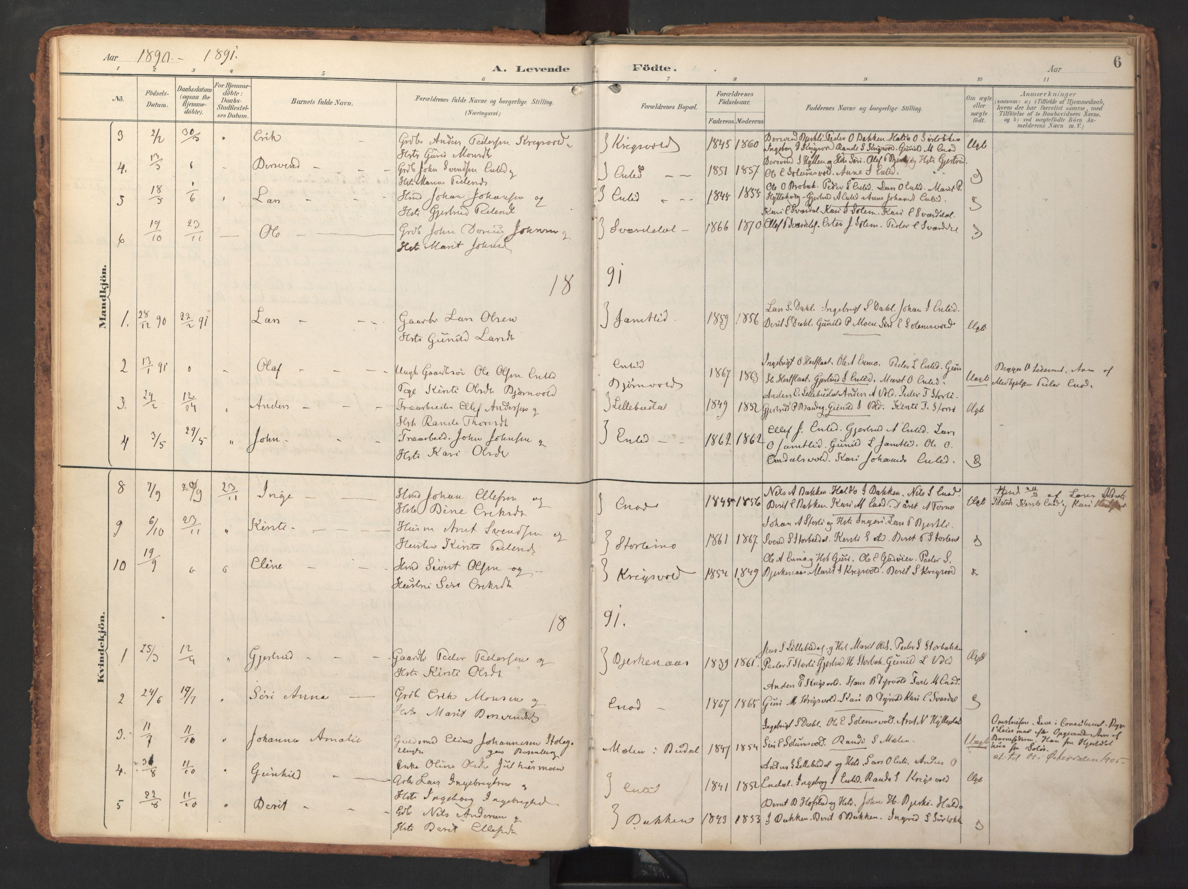 SAT, Ministerialprotokoller, klokkerbøker og fødselsregistre - Sør-Trøndelag, 690/L1050: Ministerialbok nr. 690A01, 1889-1929, s. 6