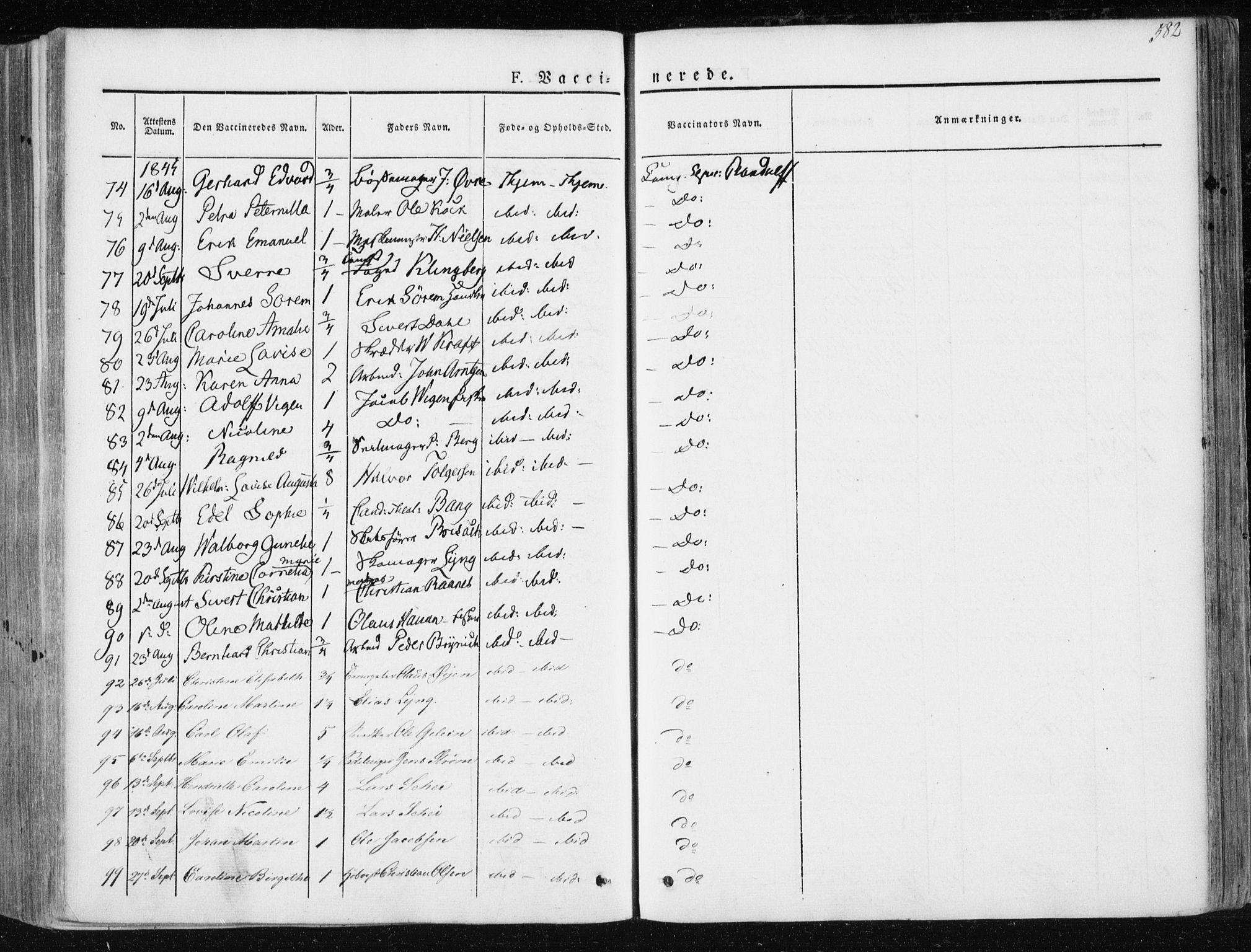 SAT, Ministerialprotokoller, klokkerbøker og fødselsregistre - Sør-Trøndelag, 601/L0049: Ministerialbok nr. 601A17, 1839-1847, s. 582