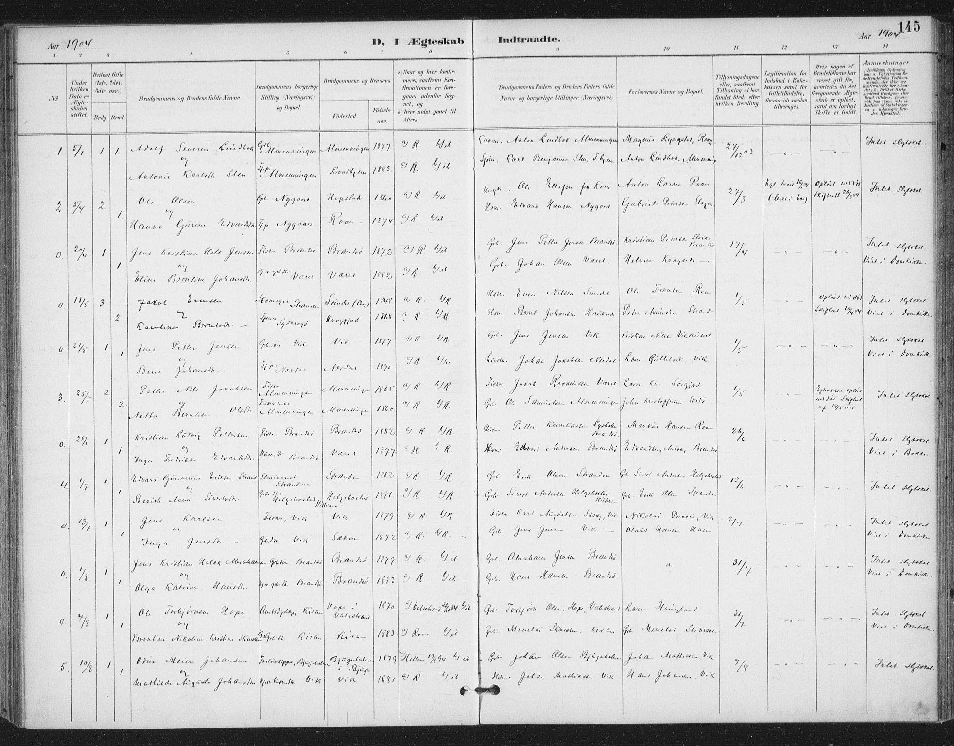 SAT, Ministerialprotokoller, klokkerbøker og fødselsregistre - Sør-Trøndelag, 657/L0708: Ministerialbok nr. 657A09, 1894-1904, s. 145
