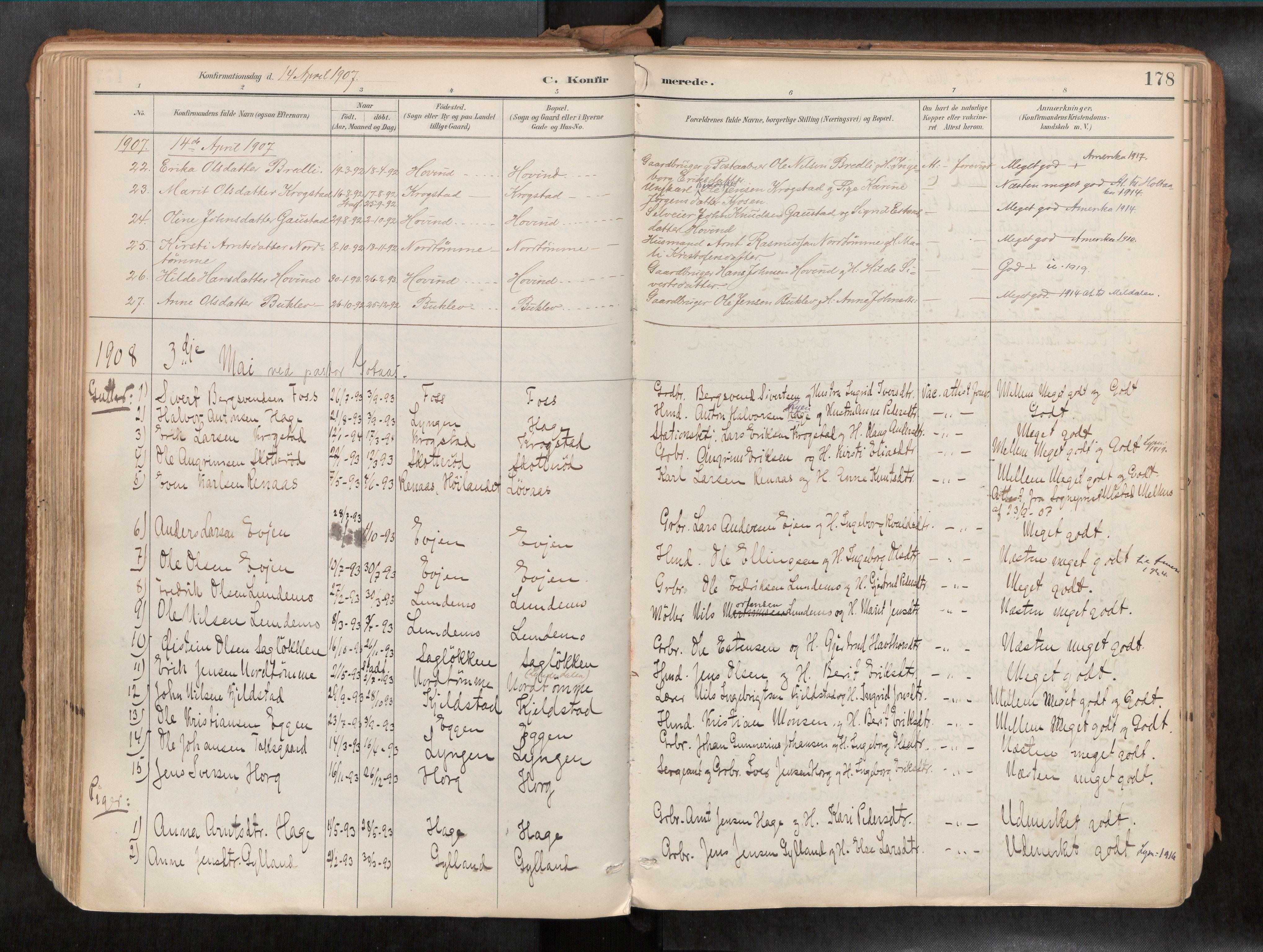SAT, Ministerialprotokoller, klokkerbøker og fødselsregistre - Sør-Trøndelag, 692/L1105b: Ministerialbok nr. 692A06, 1891-1934, s. 178