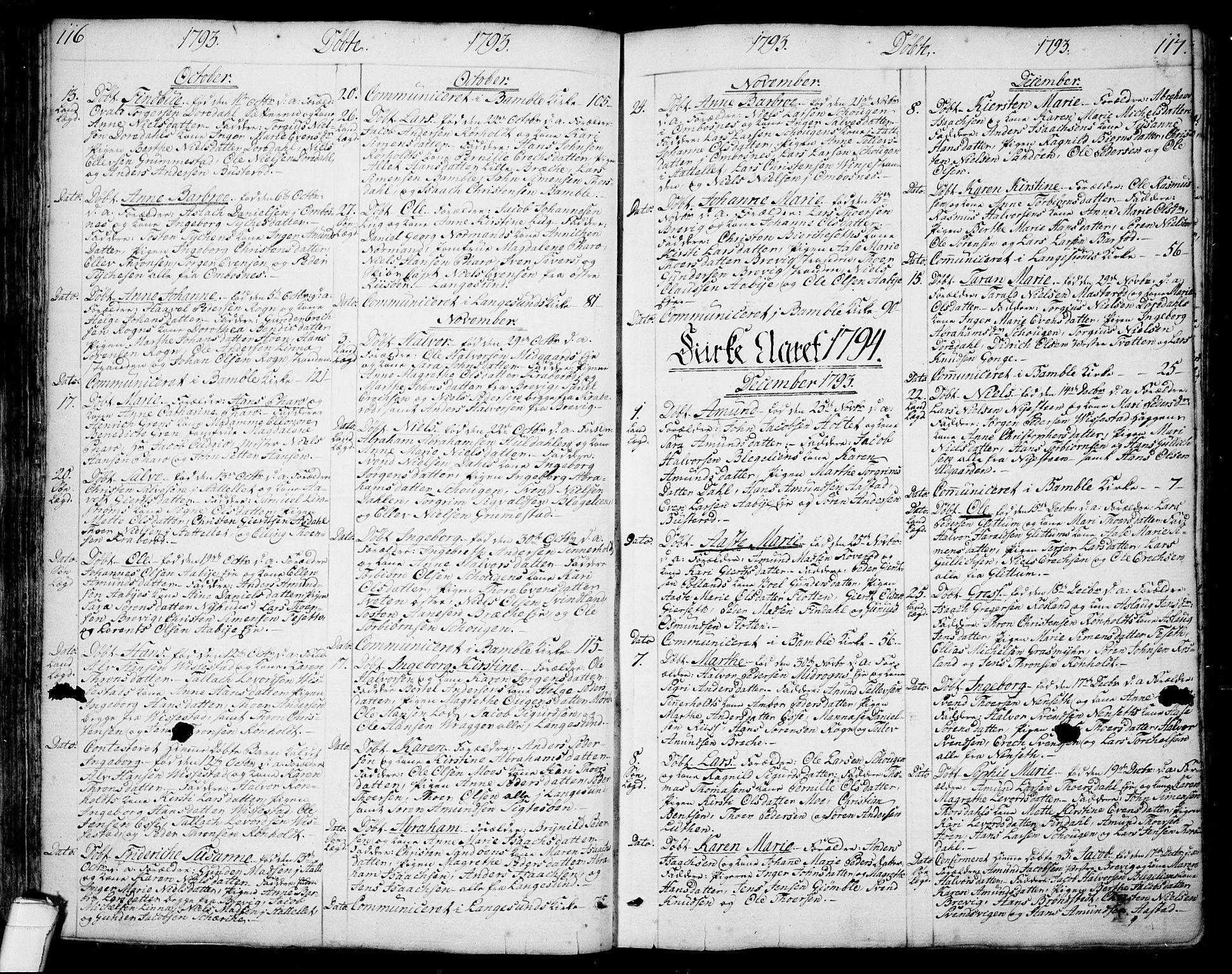SAKO, Bamble kirkebøker, F/Fa/L0002: Ministerialbok nr. I 2, 1775-1814, s. 116-117