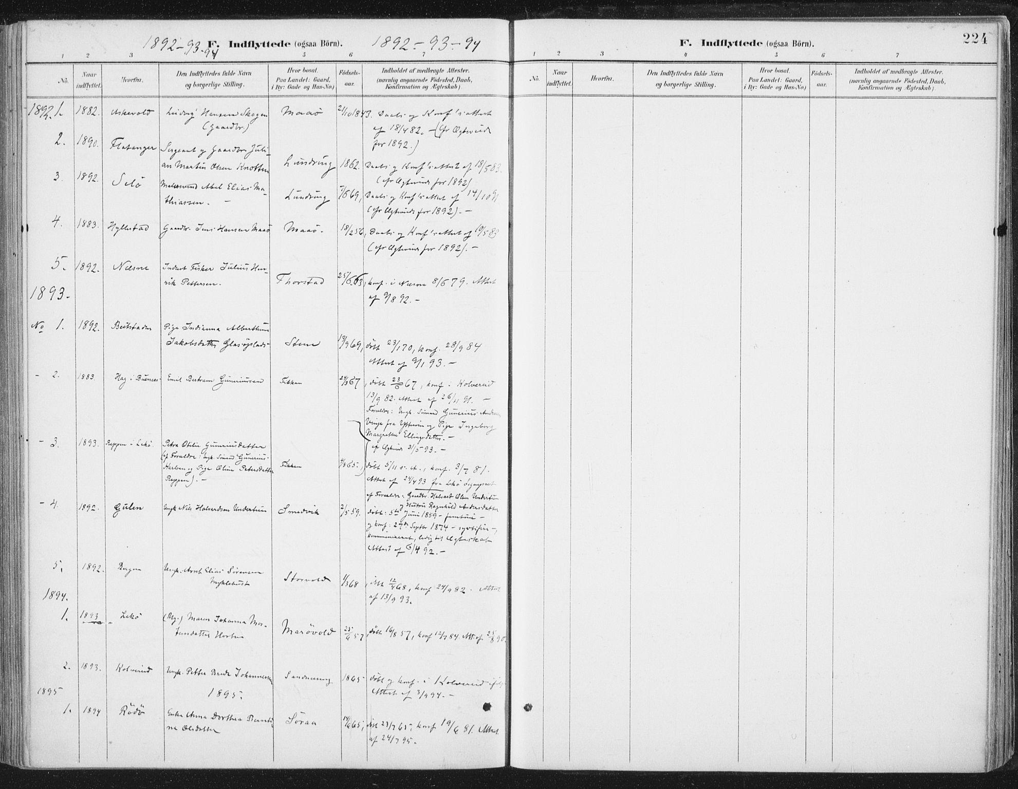 SAT, Ministerialprotokoller, klokkerbøker og fødselsregistre - Nord-Trøndelag, 784/L0673: Ministerialbok nr. 784A08, 1888-1899, s. 224