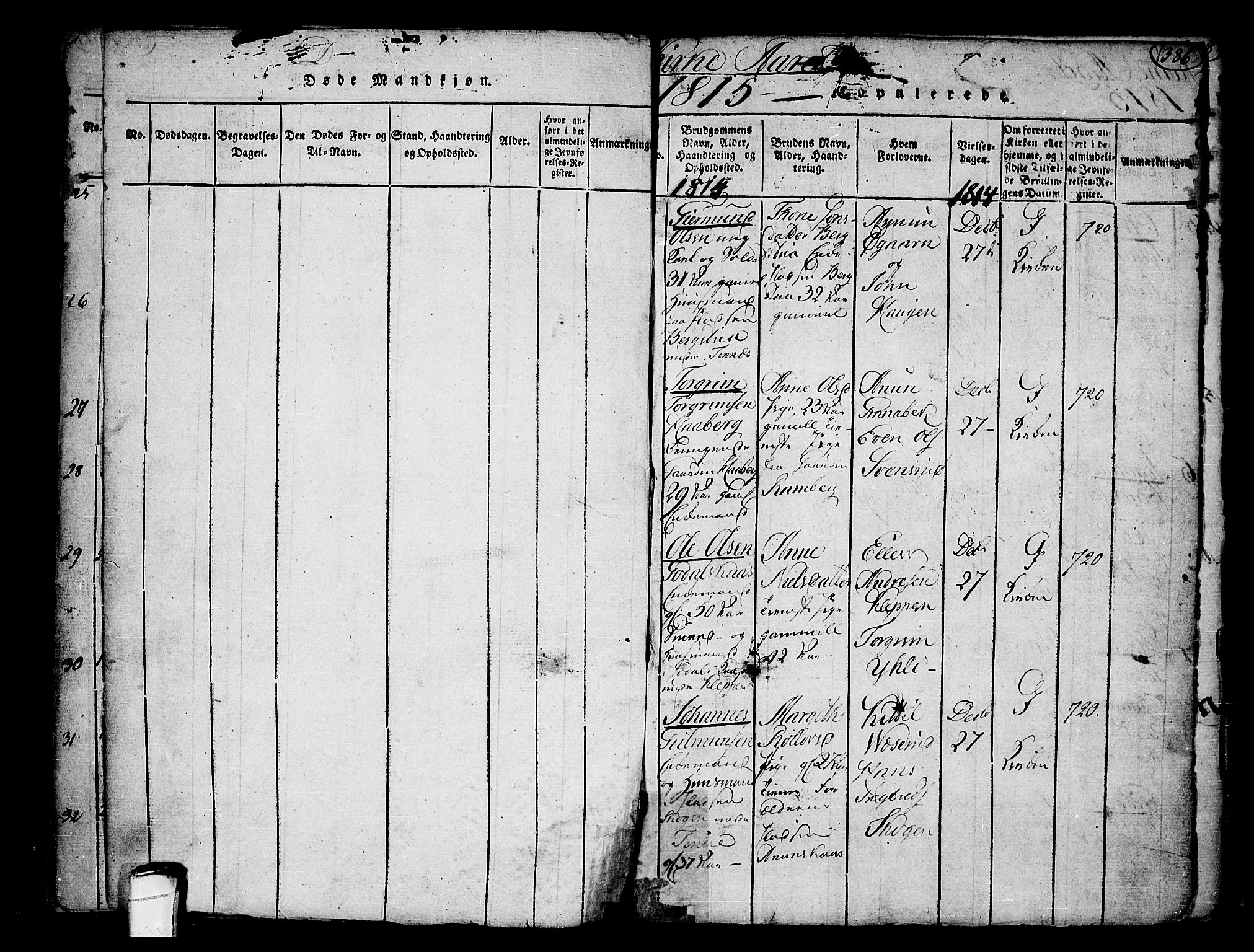 SAKO, Heddal kirkebøker, F/Fa/L0005: Ministerialbok nr. I 5, 1814-1837, s. 385-386