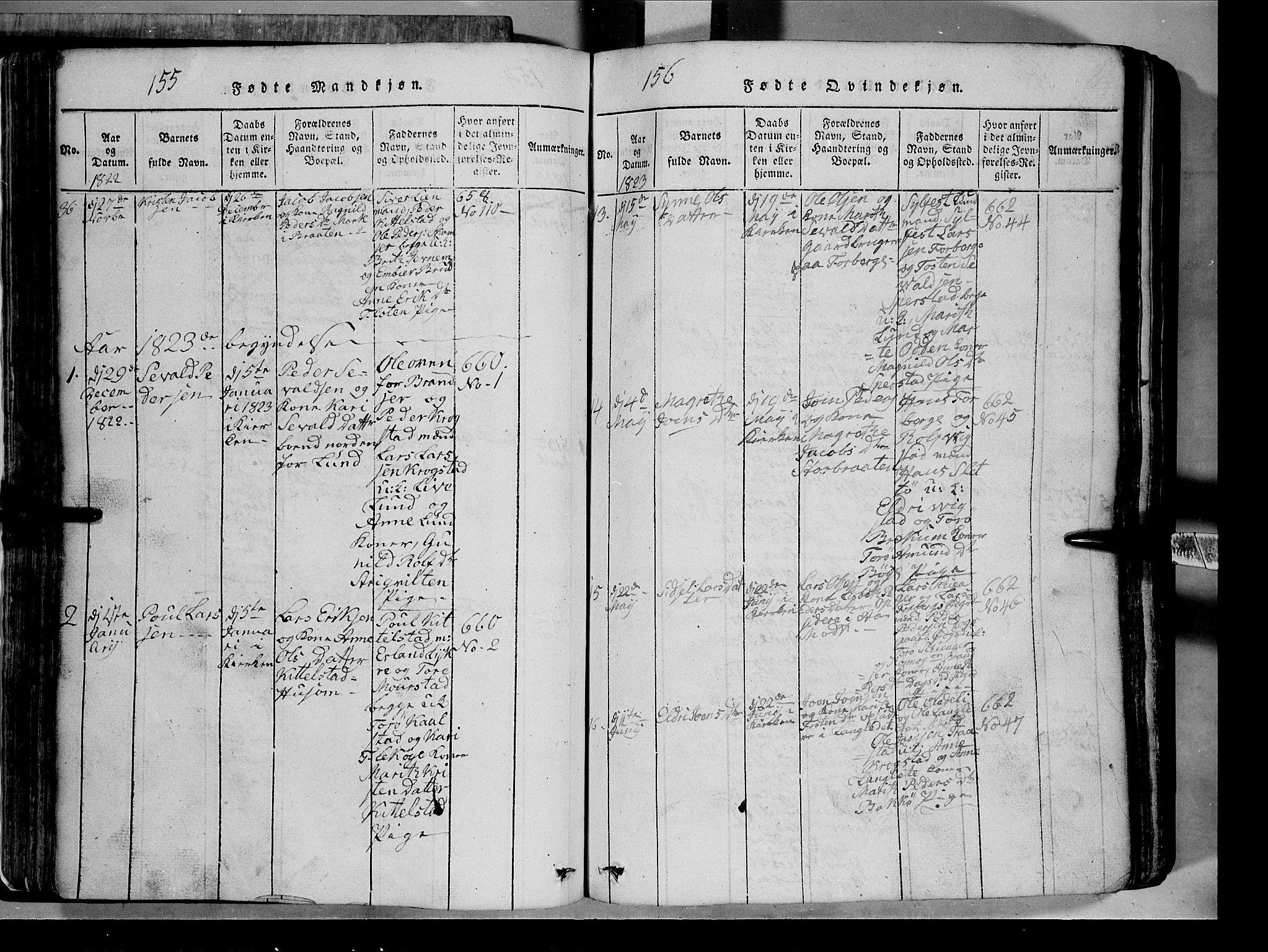 SAH, Lom prestekontor, L/L0003: Klokkerbok nr. 3, 1815-1844, s. 155-156