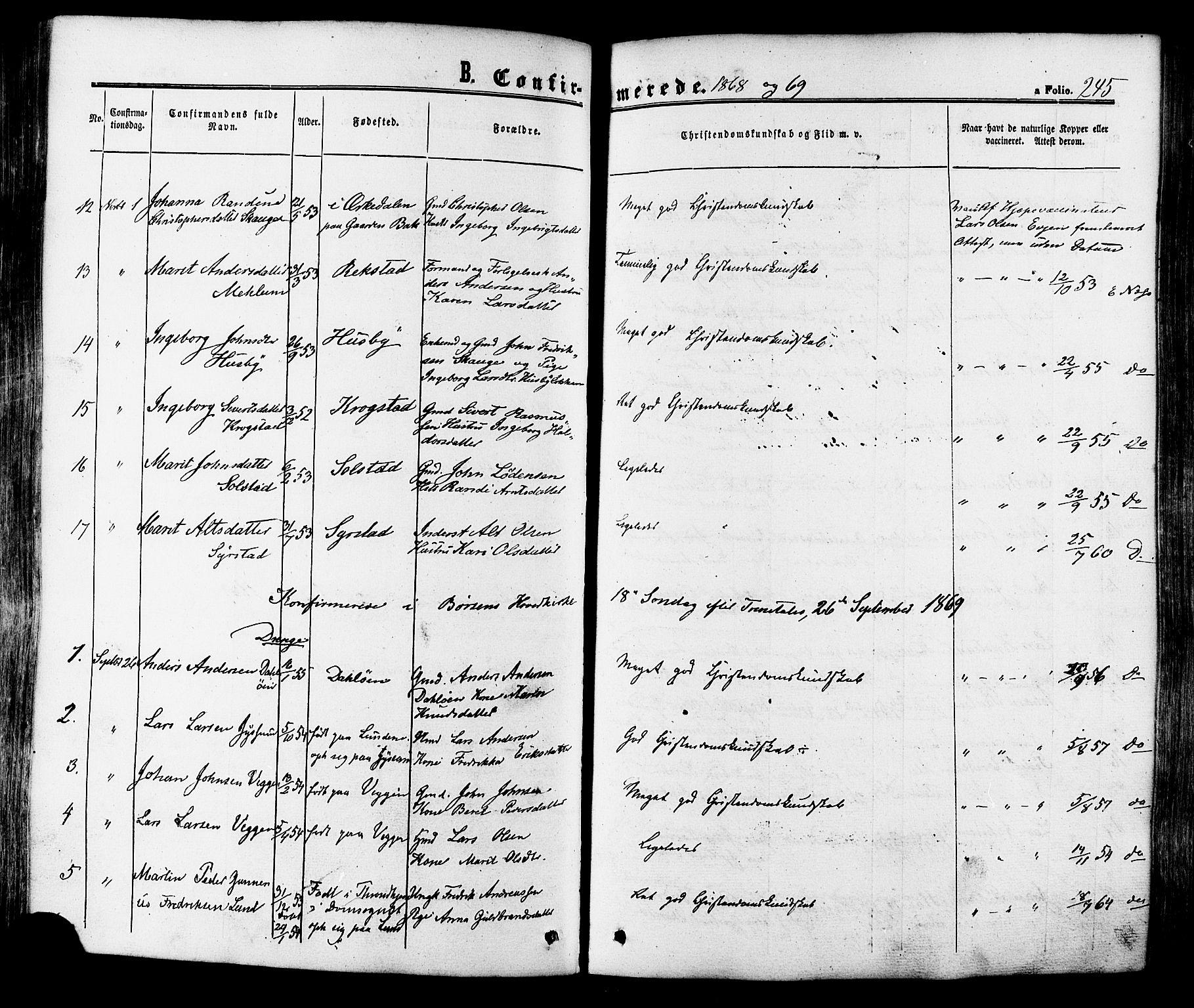 SAT, Ministerialprotokoller, klokkerbøker og fødselsregistre - Sør-Trøndelag, 665/L0772: Ministerialbok nr. 665A07, 1856-1878, s. 245