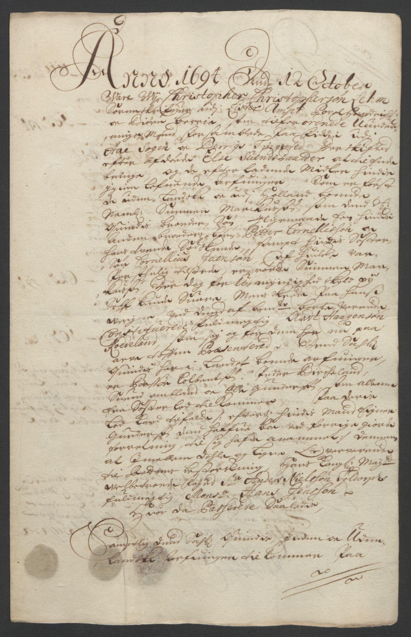 RA, Rentekammeret inntil 1814, Reviderte regnskaper, Fogderegnskap, R43/L2545: Fogderegnskap Lista og Mandal, 1694-1695, s. 50
