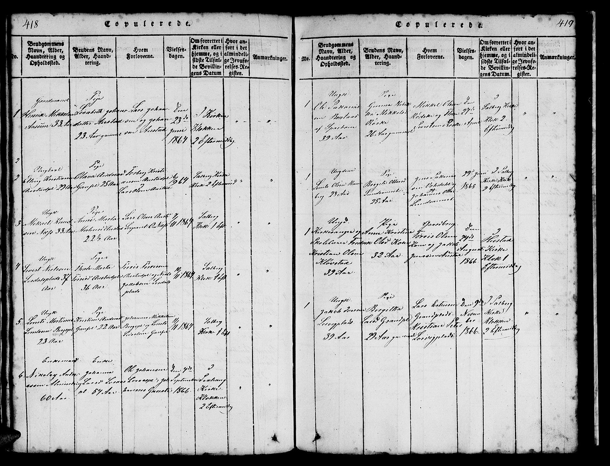 SAT, Ministerialprotokoller, klokkerbøker og fødselsregistre - Nord-Trøndelag, 731/L0310: Klokkerbok nr. 731C01, 1816-1874, s. 418-419