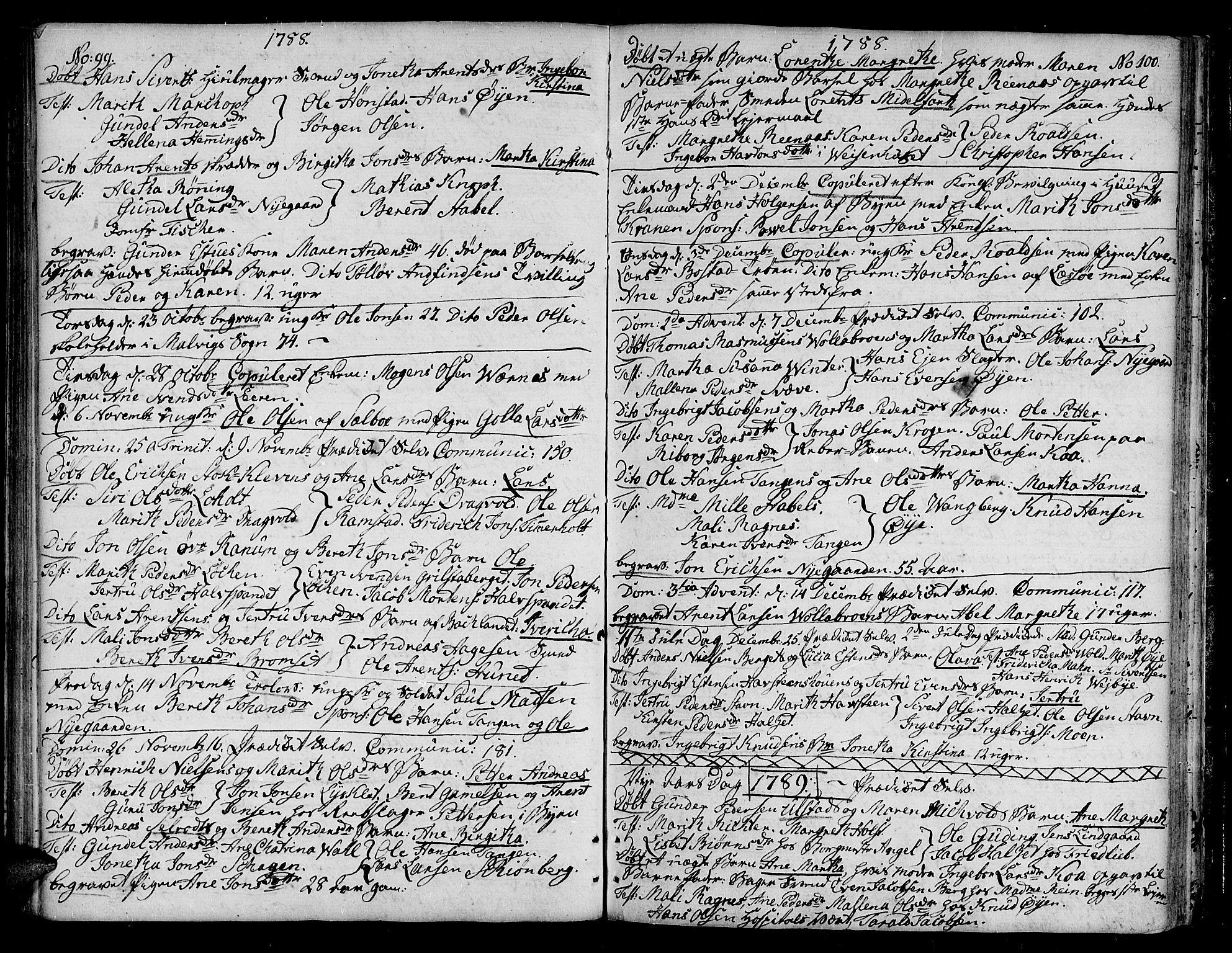 SAT, Ministerialprotokoller, klokkerbøker og fødselsregistre - Sør-Trøndelag, 604/L0180: Ministerialbok nr. 604A01, 1780-1797, s. 99-100
