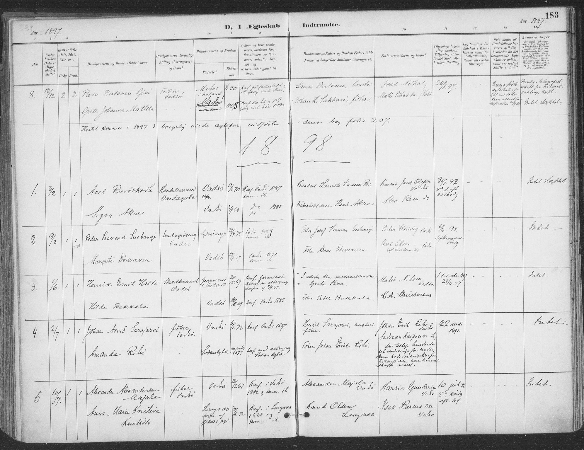 SATØ, Vadsø sokneprestkontor, H/Ha/L0007kirke: Ministerialbok nr. 7, 1896-1916, s. 183