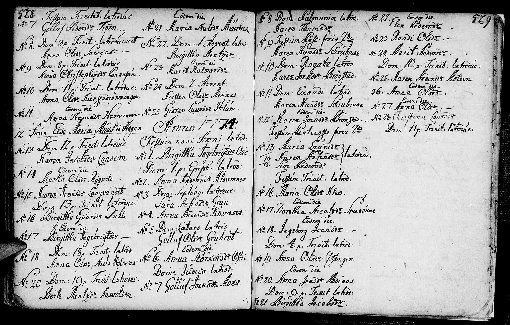 SAT, Ministerialprotokoller, klokkerbøker og fødselsregistre - Nord-Trøndelag, 749/L0467: Ministerialbok nr. 749A01, 1733-1787, s. 528-529
