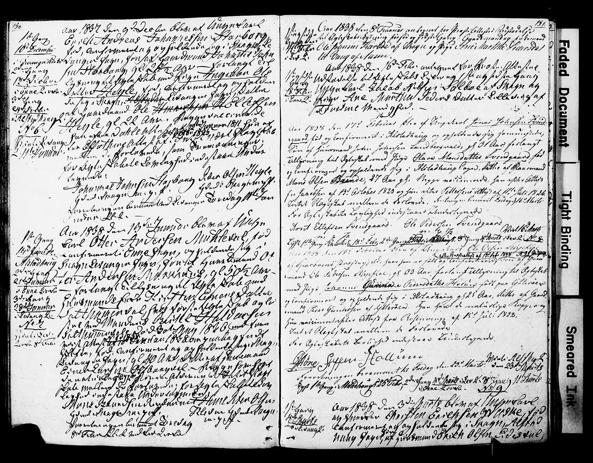 SAT, Ministerialprotokoller, klokkerbøker og fødselsregistre - Nord-Trøndelag, 717/L0160: Forlovererklæringer nr. 717A10, 1828-1850, s. 150-151