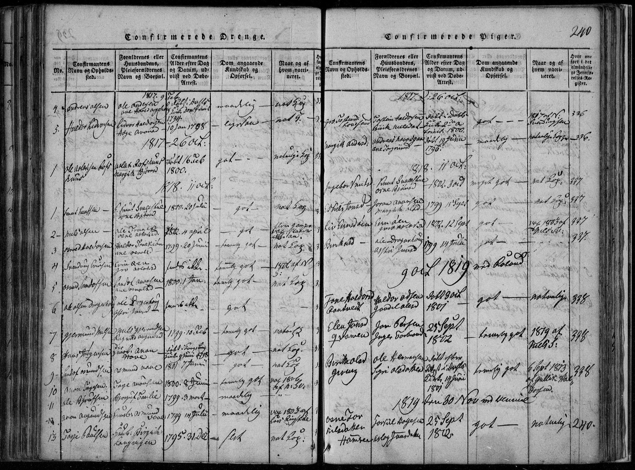 SAKO, Rauland kirkebøker, F/Fa/L0001: Ministerialbok nr. 1, 1814-1859, s. 240