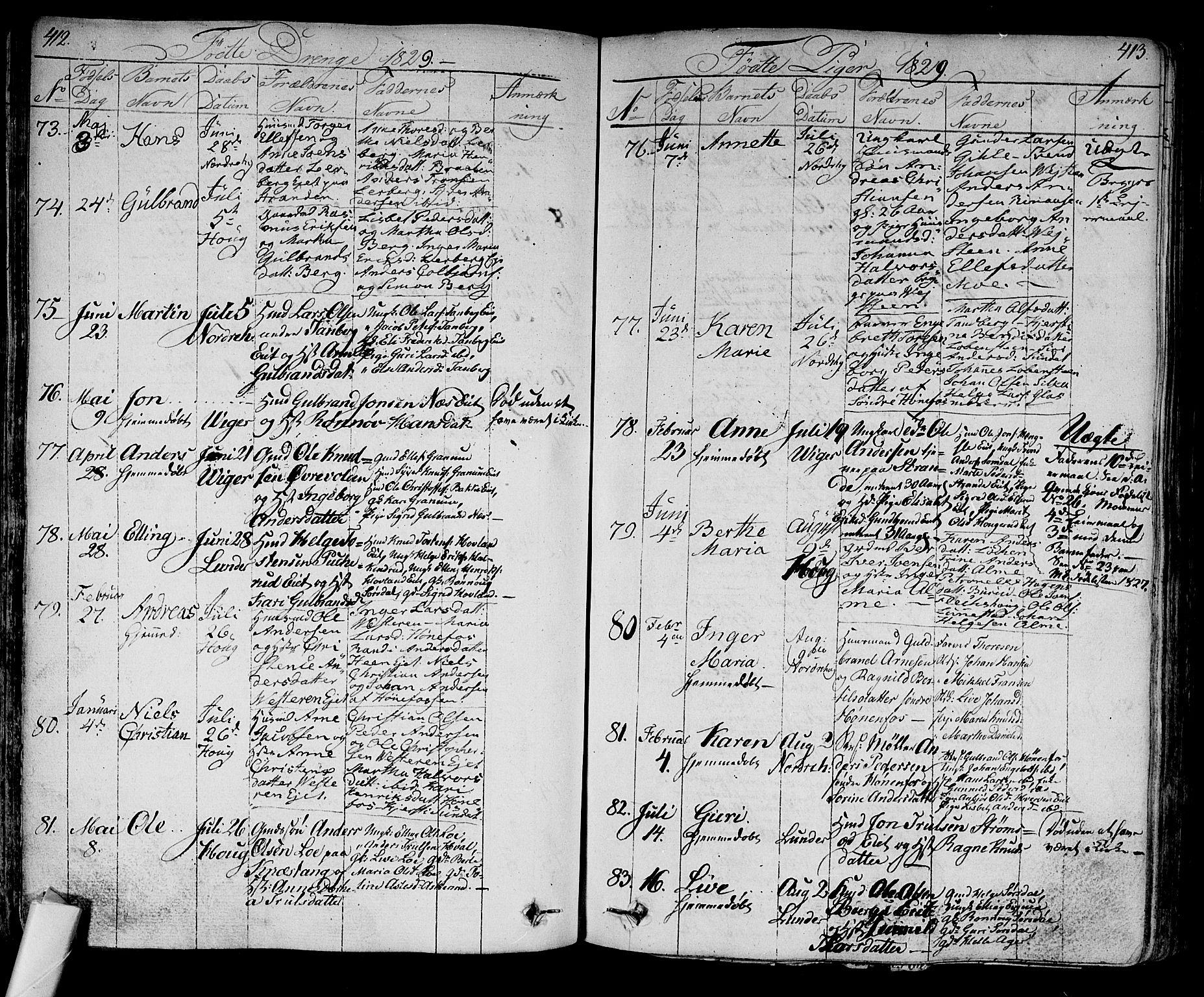 SAKO, Norderhov kirkebøker, F/Fa/L0009: Ministerialbok nr. 9, 1819-1837, s. 412-413