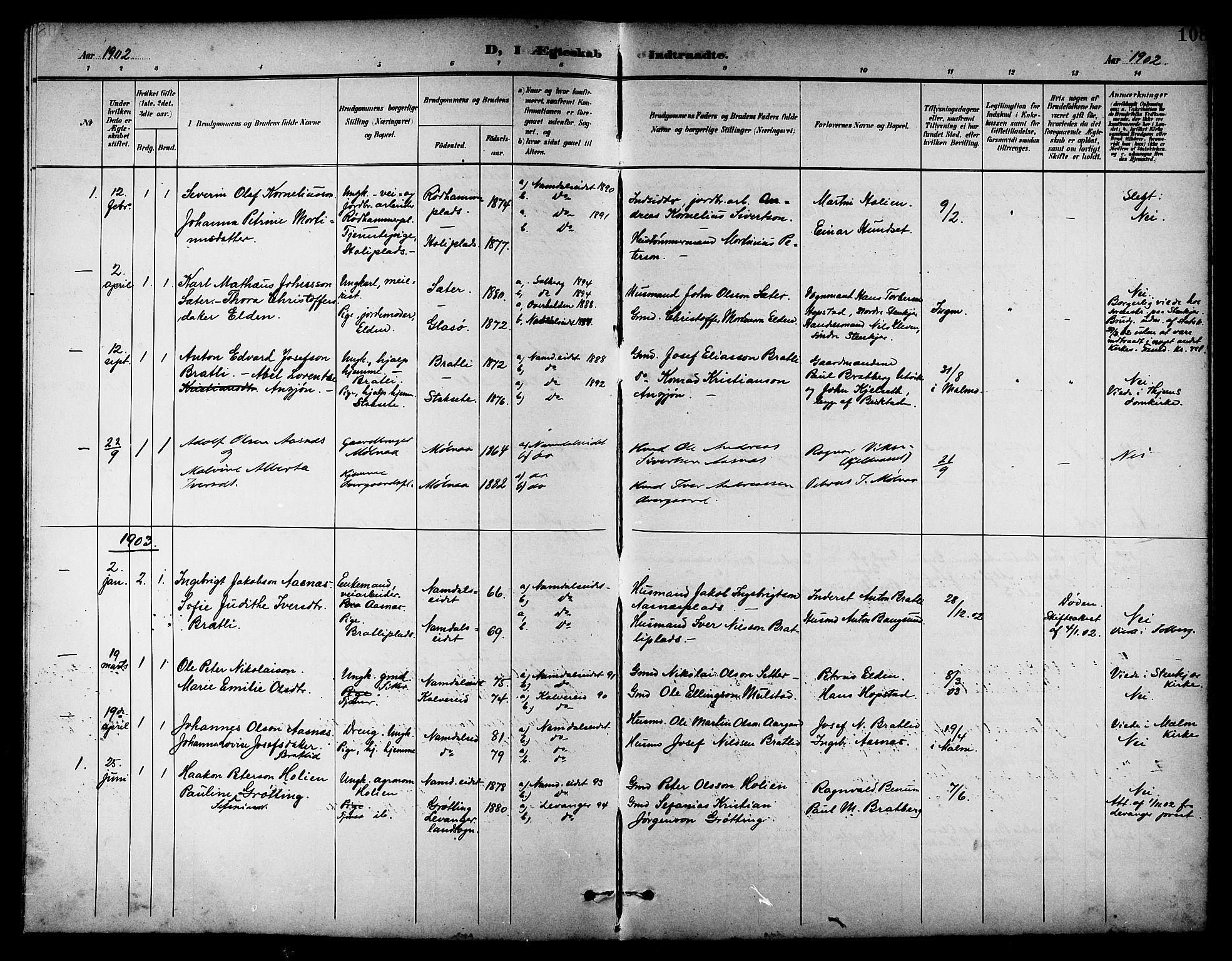 SAT, Ministerialprotokoller, klokkerbøker og fødselsregistre - Nord-Trøndelag, 742/L0412: Klokkerbok nr. 742C03, 1898-1910, s. 108