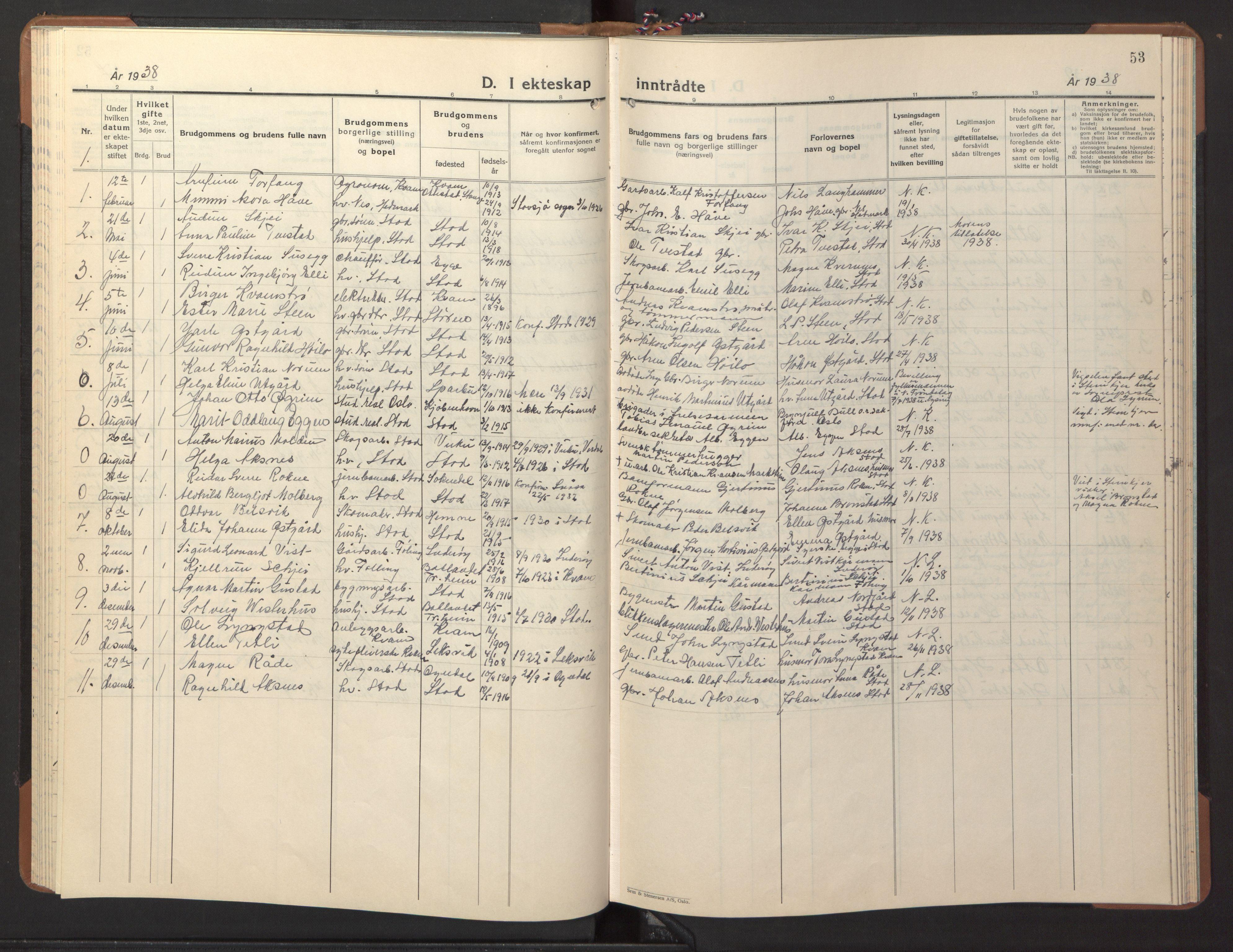 SAT, Ministerialprotokoller, klokkerbøker og fødselsregistre - Nord-Trøndelag, 746/L0456: Klokkerbok nr. 746C02, 1936-1948, s. 53