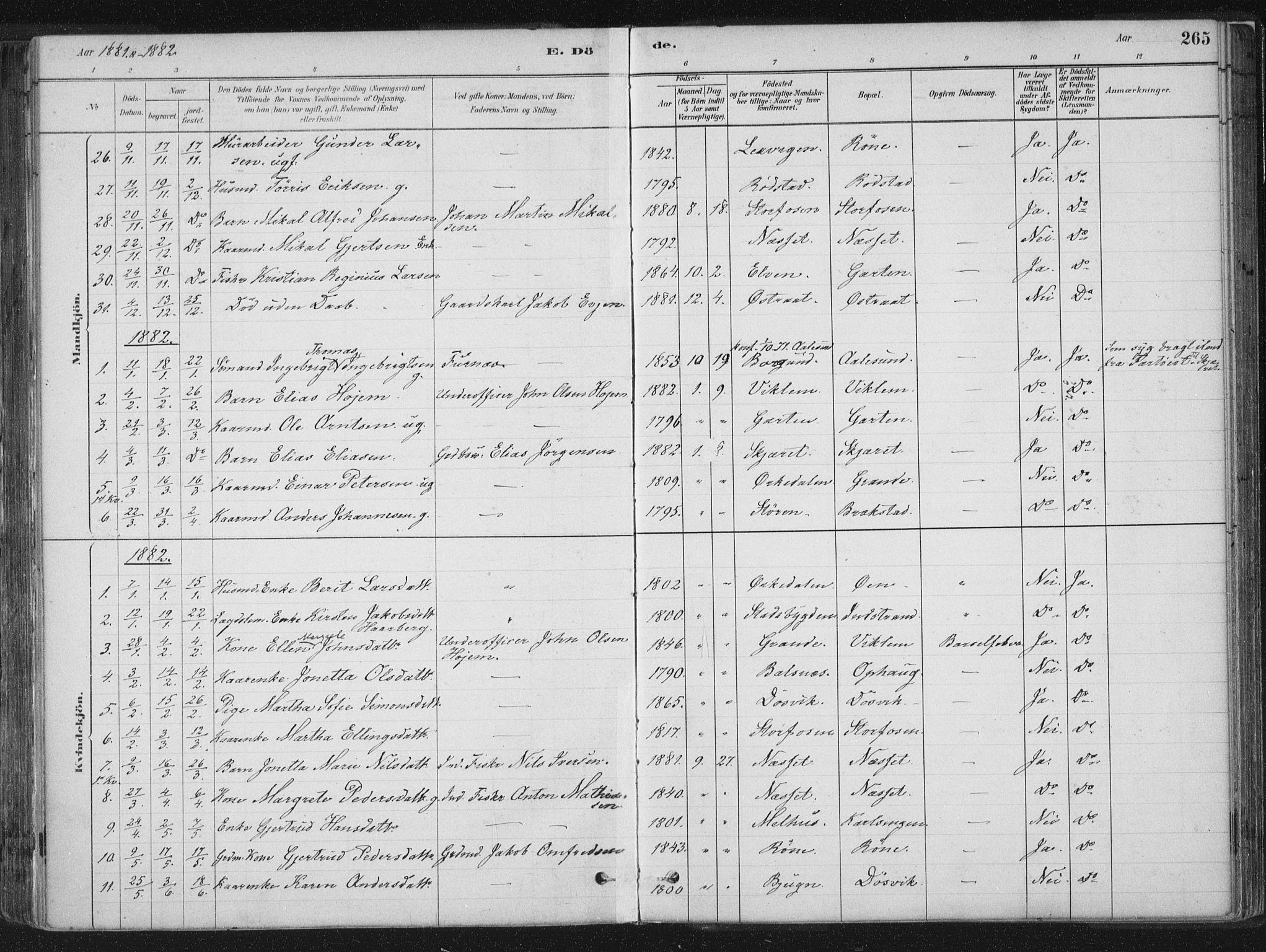SAT, Ministerialprotokoller, klokkerbøker og fødselsregistre - Sør-Trøndelag, 659/L0739: Ministerialbok nr. 659A09, 1879-1893, s. 265