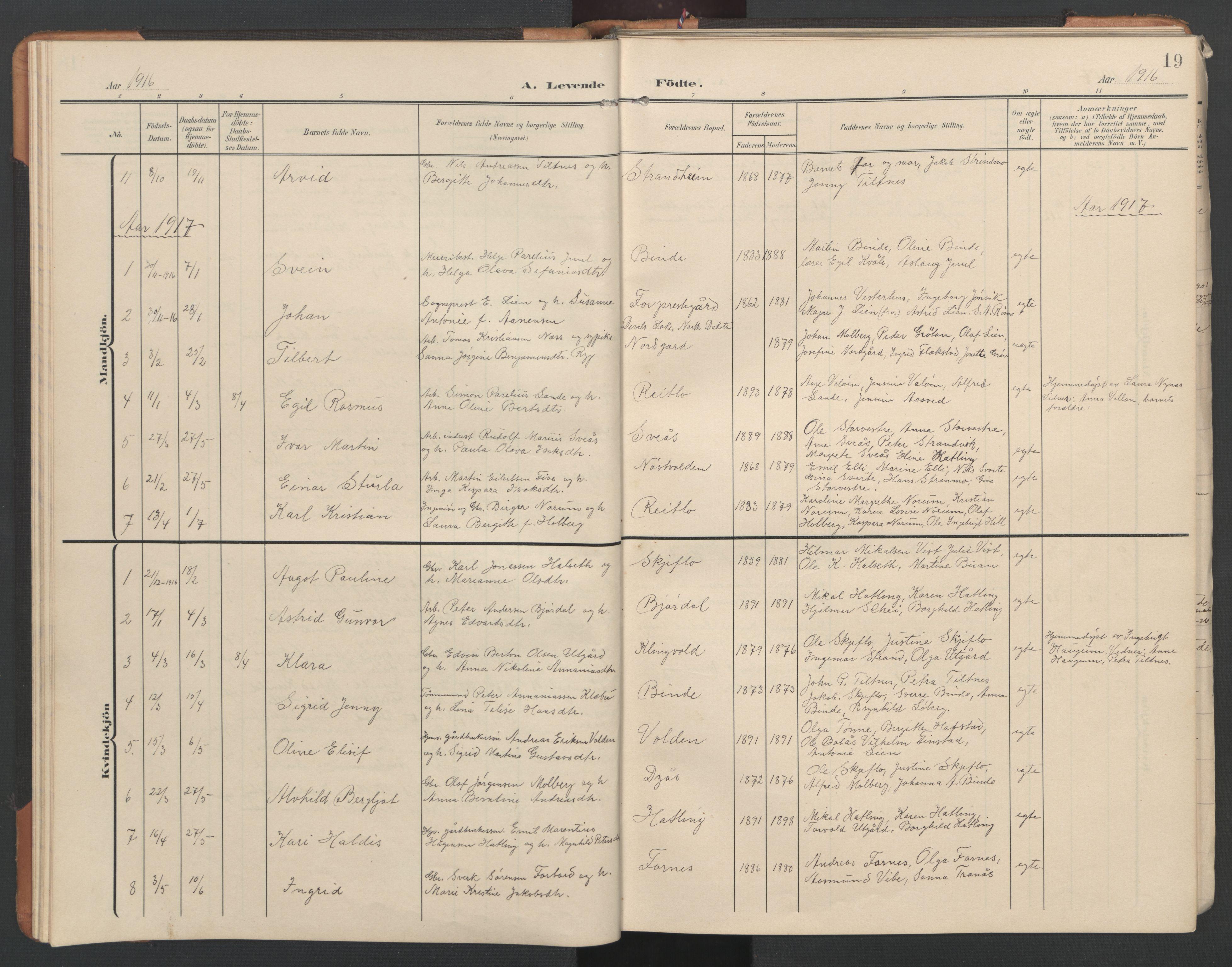 SAT, Ministerialprotokoller, klokkerbøker og fødselsregistre - Nord-Trøndelag, 746/L0455: Klokkerbok nr. 746C01, 1908-1933, s. 19