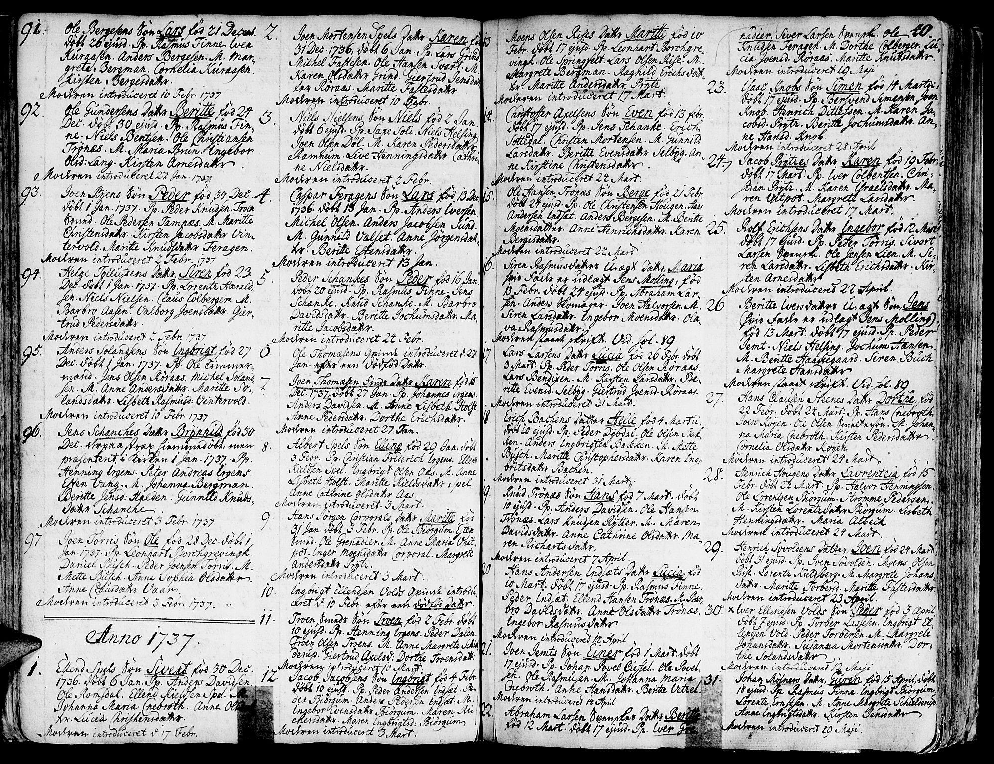 SAT, Ministerialprotokoller, klokkerbøker og fødselsregistre - Sør-Trøndelag, 681/L0925: Ministerialbok nr. 681A03, 1727-1766, s. 40