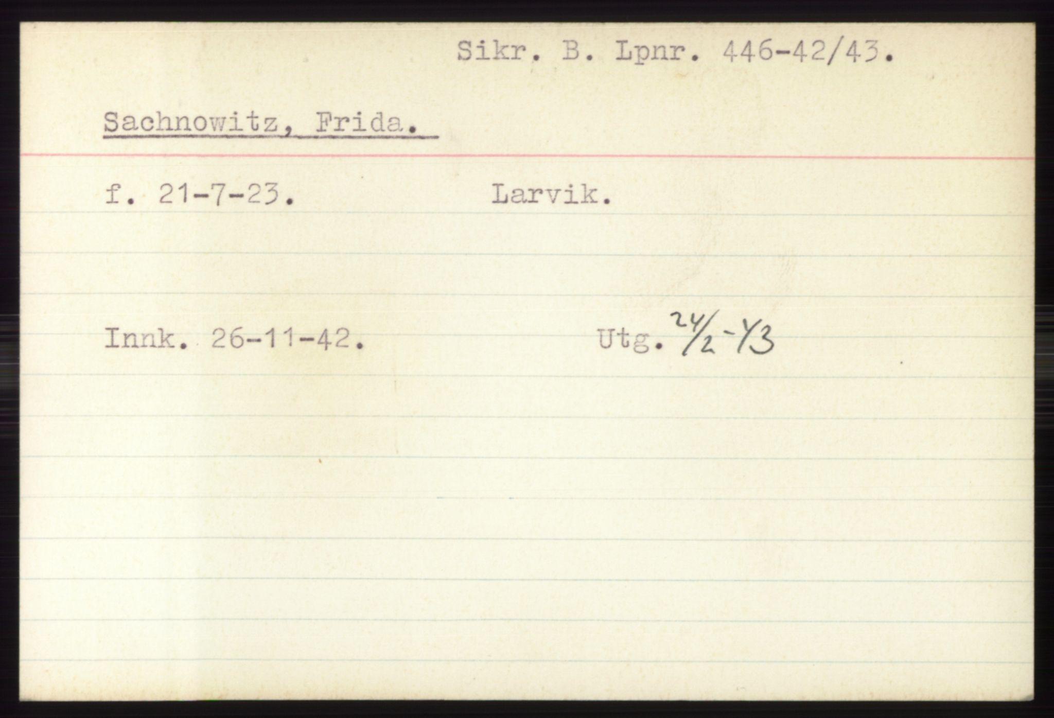 RA, Statspolitiet - Hovedkontoret / Osloavdelingen, C/Ck/Cke/L0005: Fangeregister S-Å, 1941-1945, s. 1