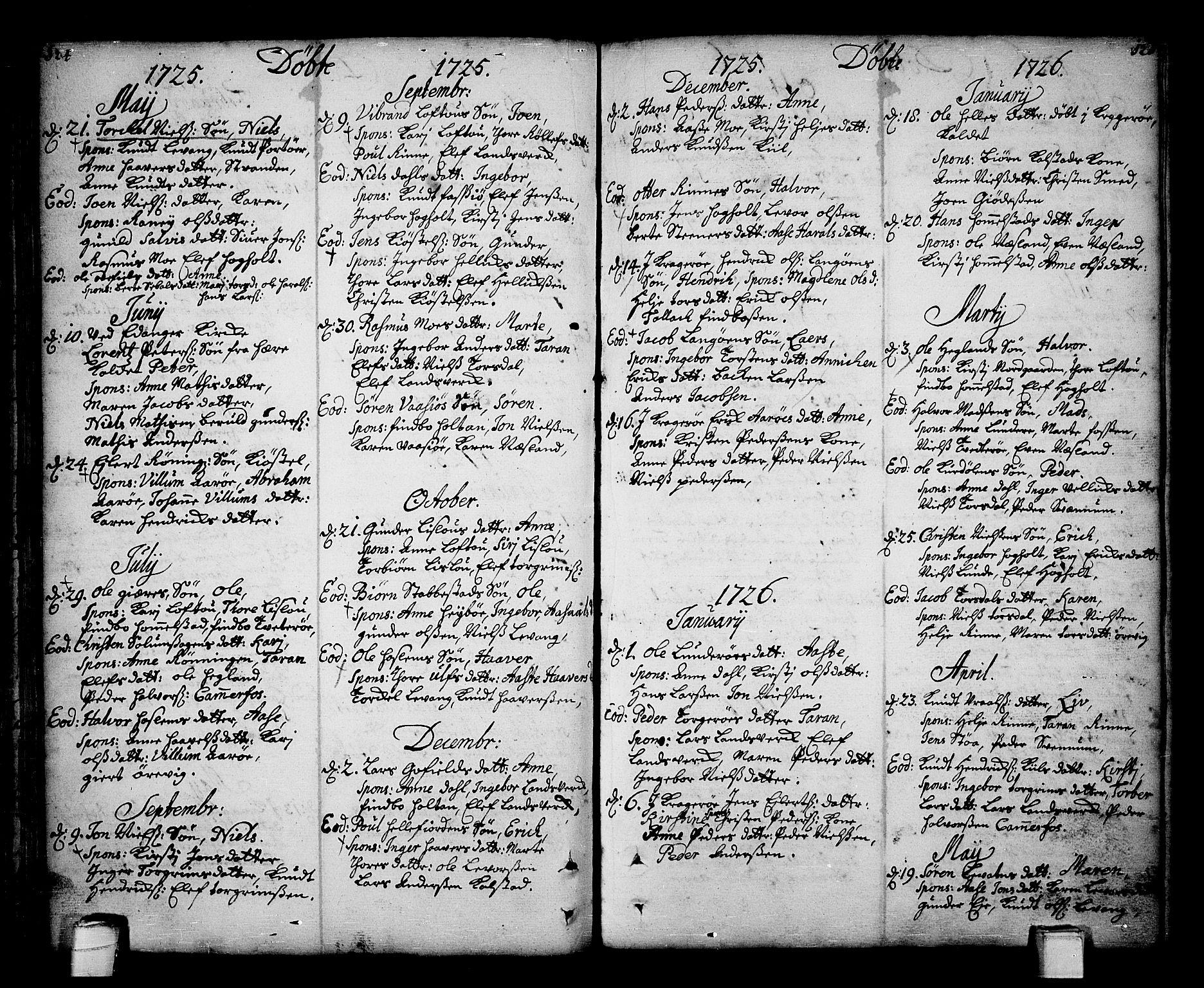 SAKO, Sannidal kirkebøker, F/Fa/L0001: Ministerialbok nr. 1, 1702-1766, s. 124-125