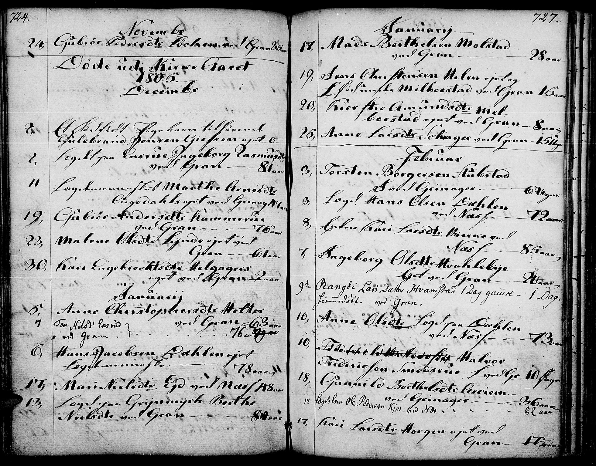 SAH, Gran prestekontor, Ministerialbok nr. 6, 1787-1824, s. 726-727