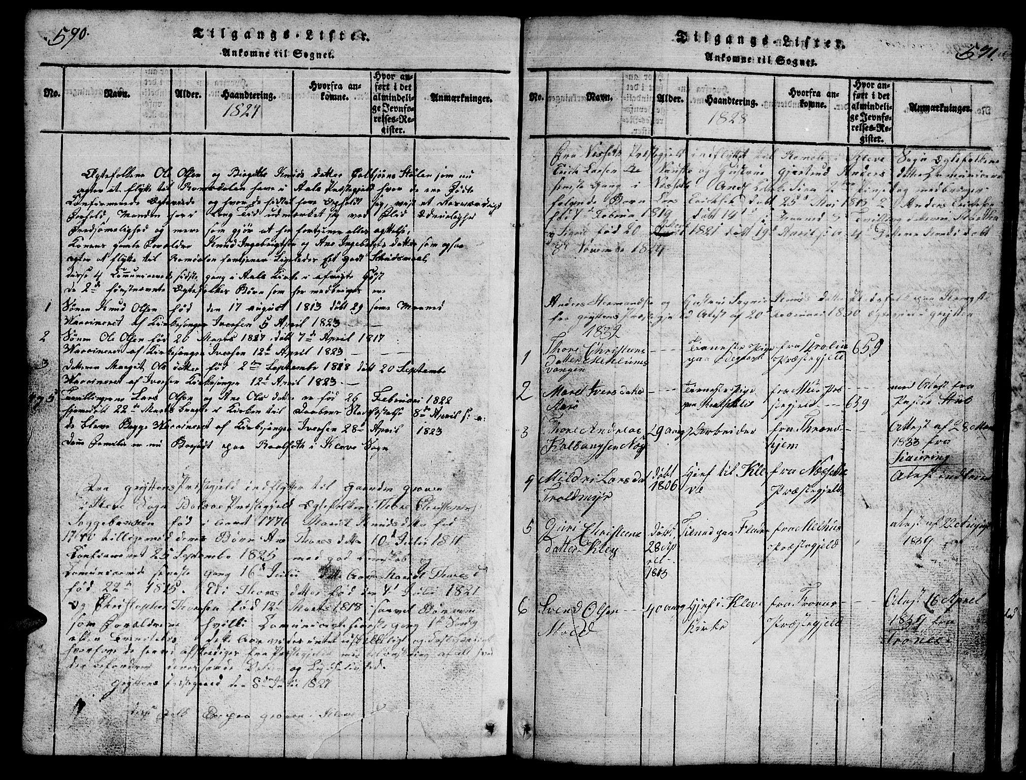 SAT, Ministerialprotokoller, klokkerbøker og fødselsregistre - Møre og Romsdal, 557/L0683: Klokkerbok nr. 557C01, 1818-1862, s. 590-591