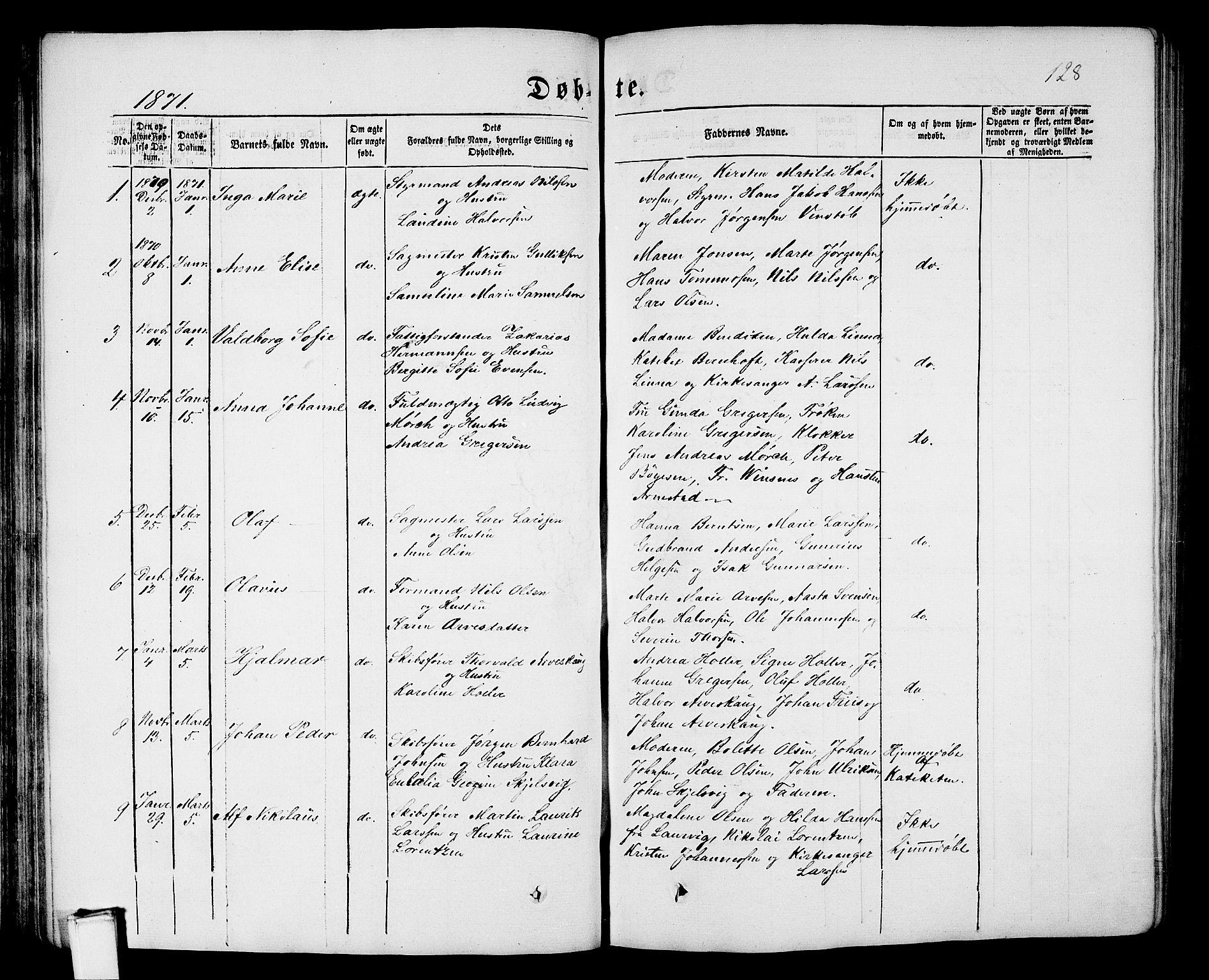 SAKO, Porsgrunn kirkebøker , G/Gb/L0004: Klokkerbok nr. II 4, 1853-1882, s. 128