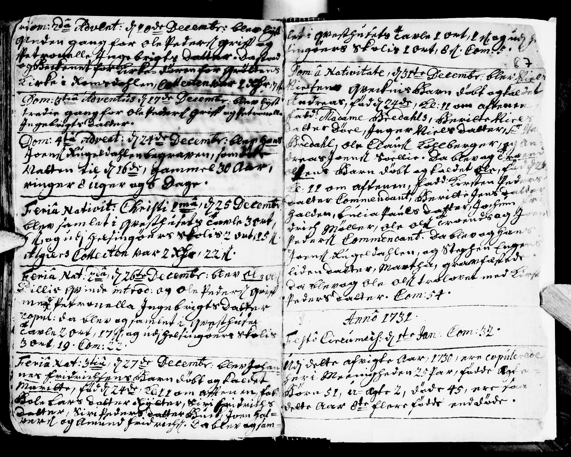 SAT, Ministerialprotokoller, klokkerbøker og fødselsregistre - Sør-Trøndelag, 681/L0924: Ministerialbok nr. 681A02, 1720-1731, s. 286-287