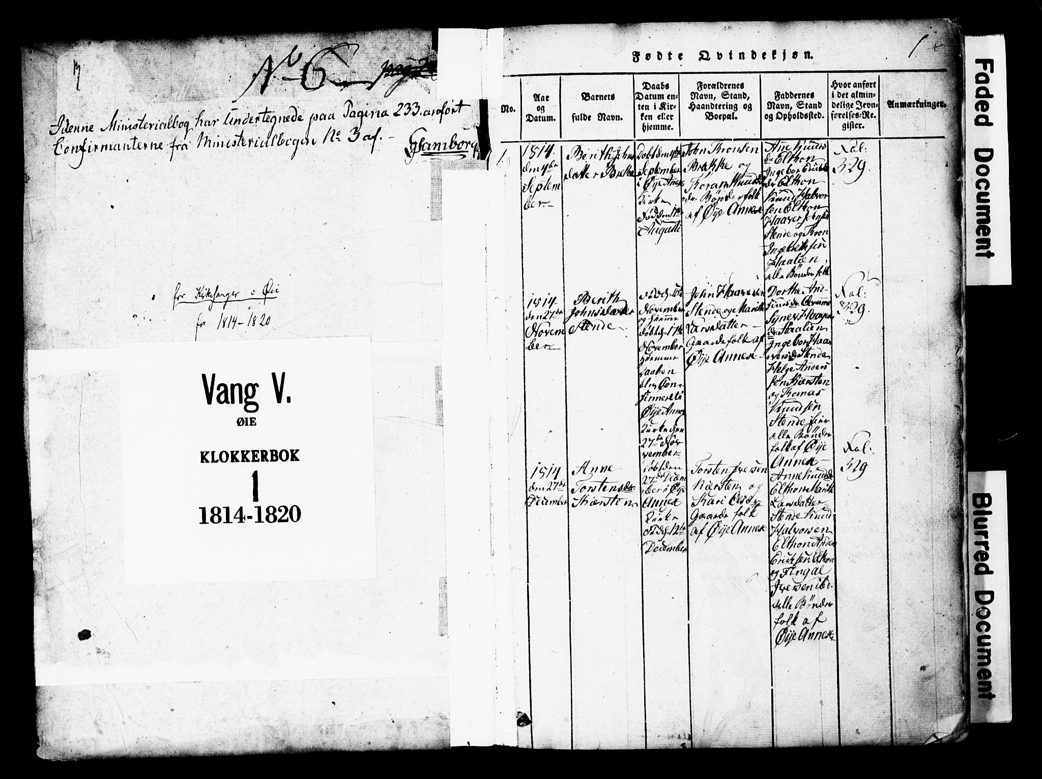 SAH, Vang prestekontor, Valdres, Klokkerbok nr. 1, 1814-1820