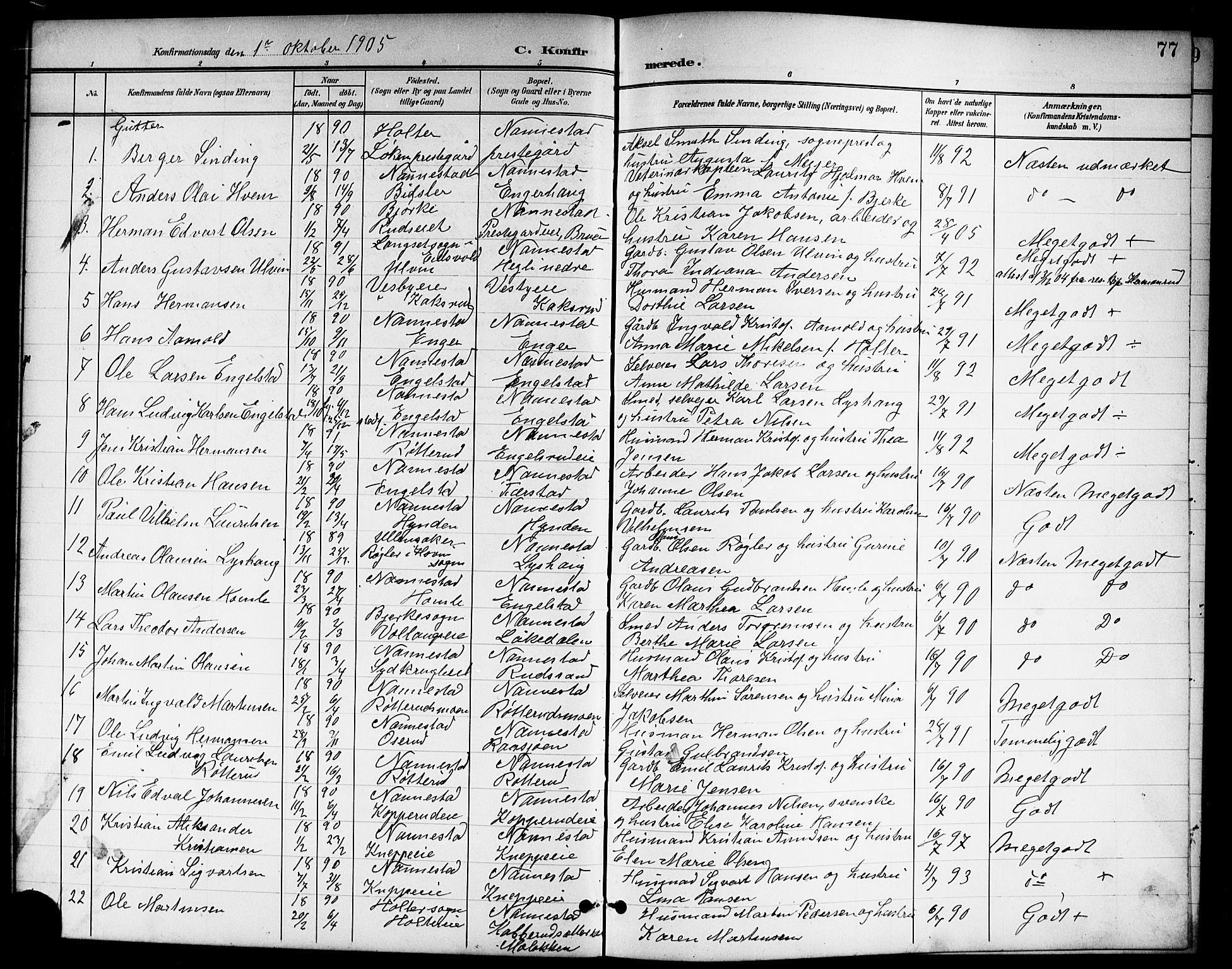 SAO, Nannestad prestekontor Kirkebøker, G/Ga/L0002: Klokkerbok nr. I 2, 1901-1913, s. 77