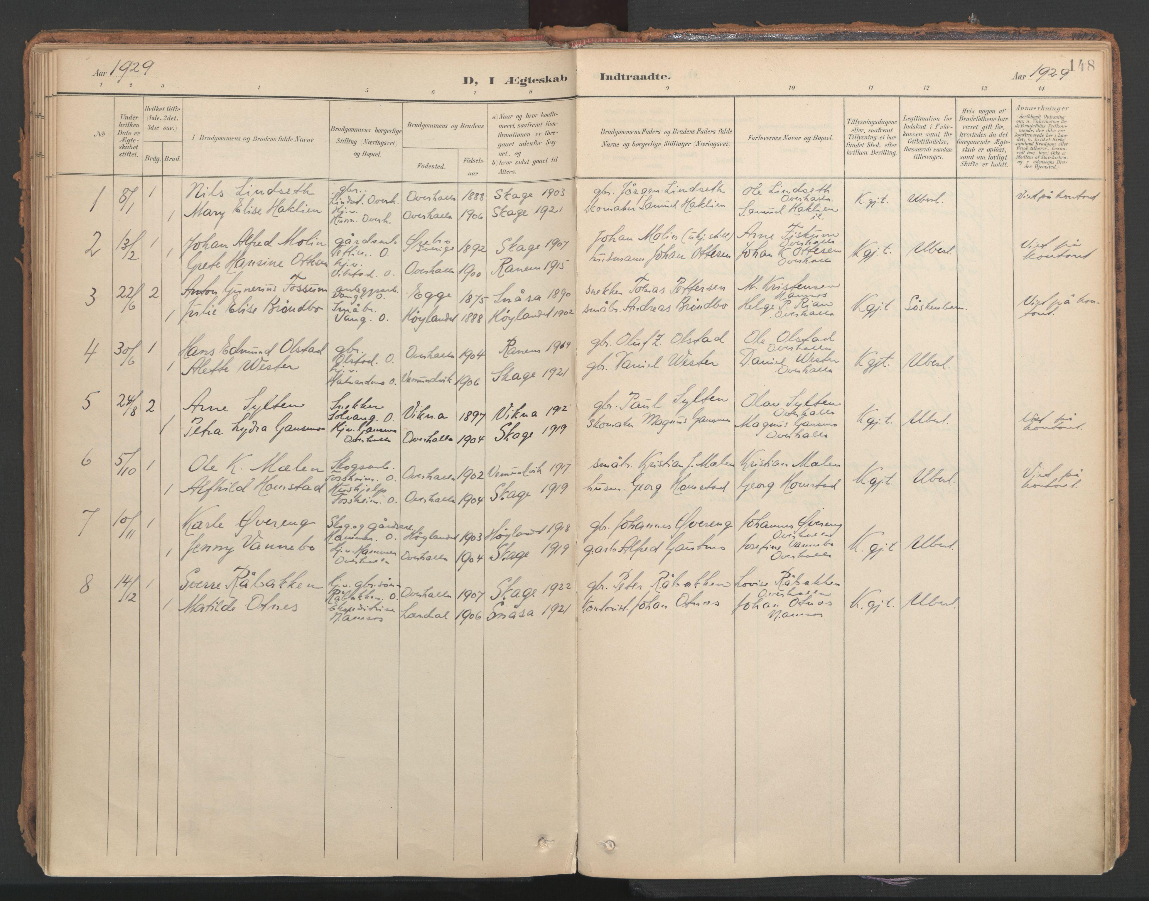 SAT, Ministerialprotokoller, klokkerbøker og fødselsregistre - Nord-Trøndelag, 766/L0564: Ministerialbok nr. 767A02, 1900-1932, s. 148