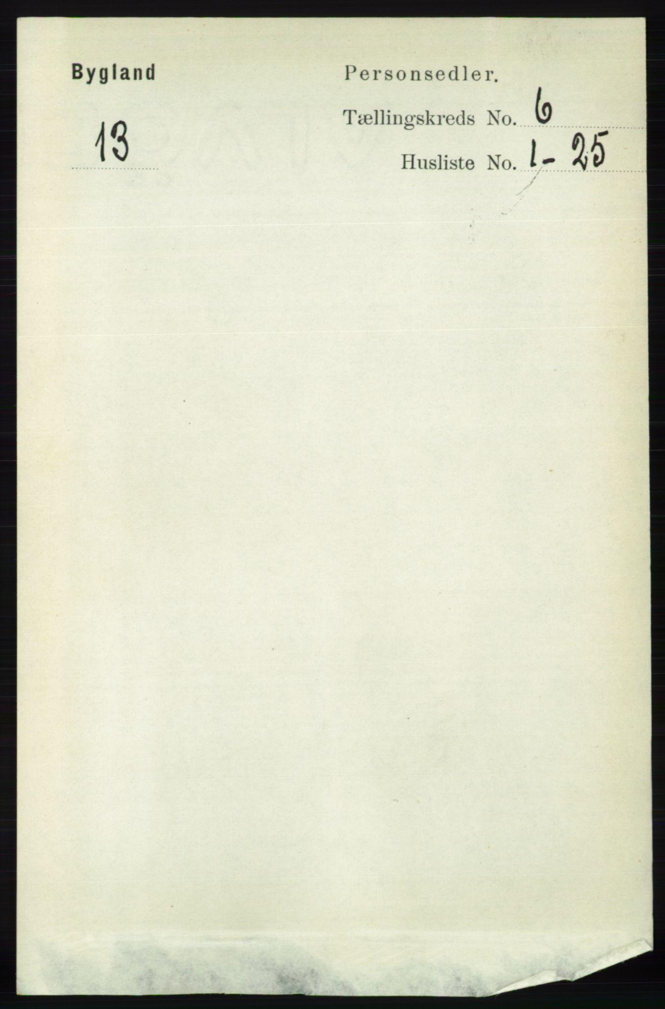 RA, Folketelling 1891 for 0938 Bygland herred, 1891, s. 1335