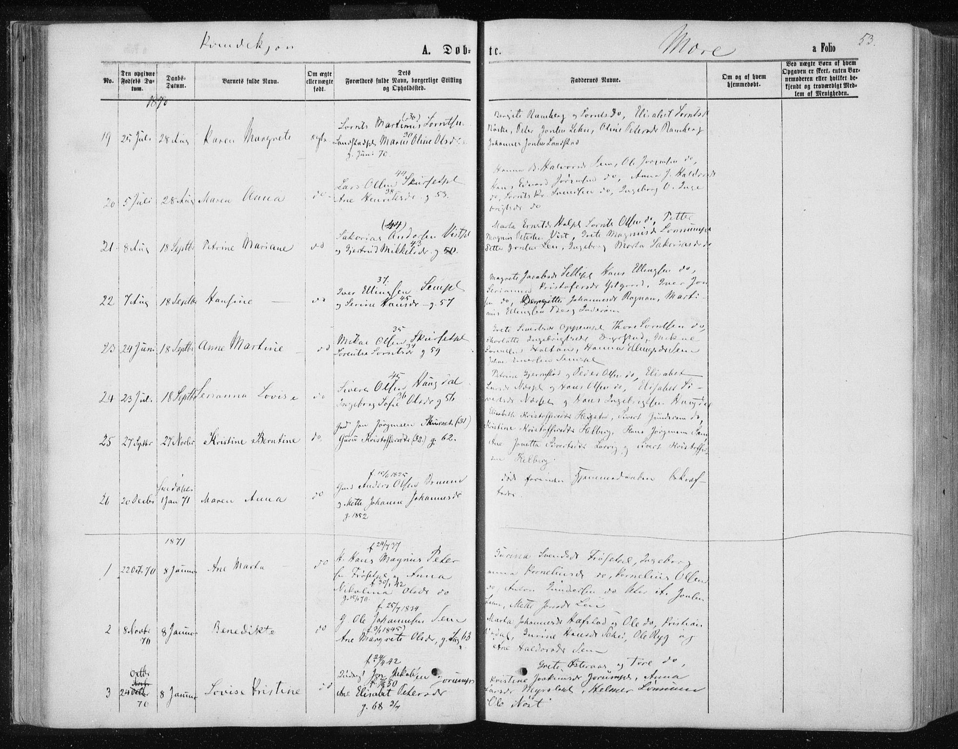 SAT, Ministerialprotokoller, klokkerbøker og fødselsregistre - Nord-Trøndelag, 735/L0345: Ministerialbok nr. 735A08 /1, 1863-1872, s. 53