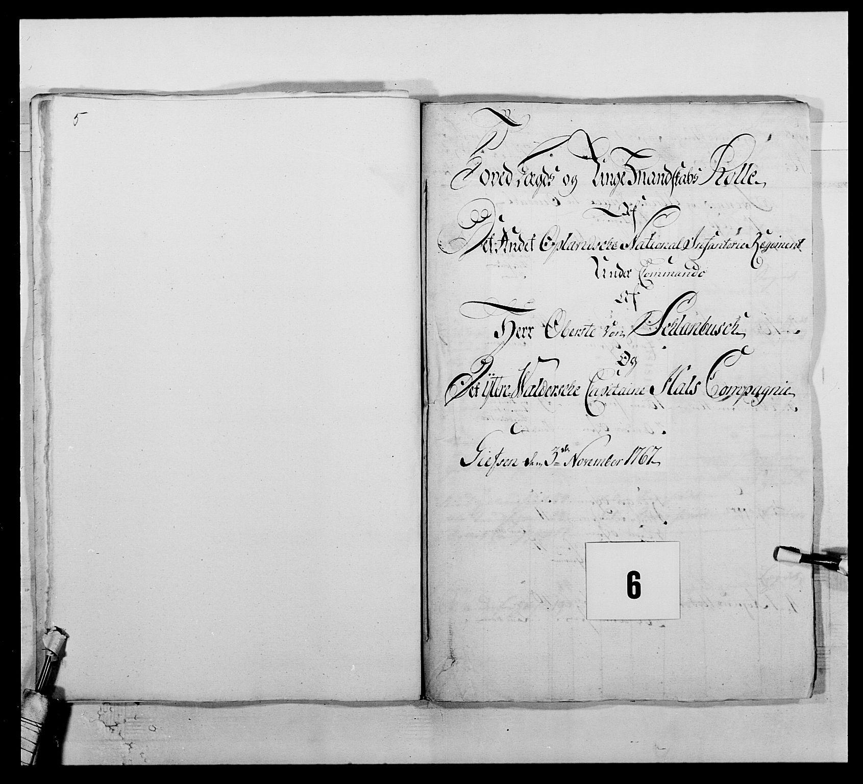 RA, Kommanderende general (KG I) med Det norske krigsdirektorium, E/Ea/L0507: 2. Opplandske regiment, 1766-1767, s. 92