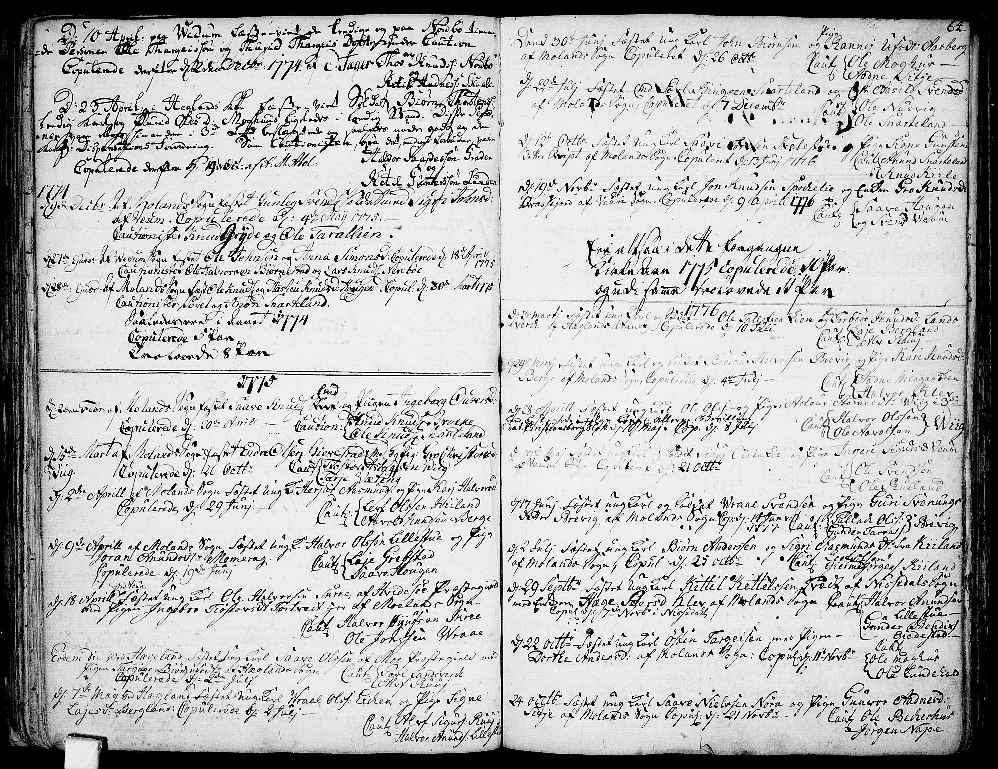 SAKO, Fyresdal kirkebøker, F/Fa/L0002: Ministerialbok nr. I 2, 1769-1814, s. 64