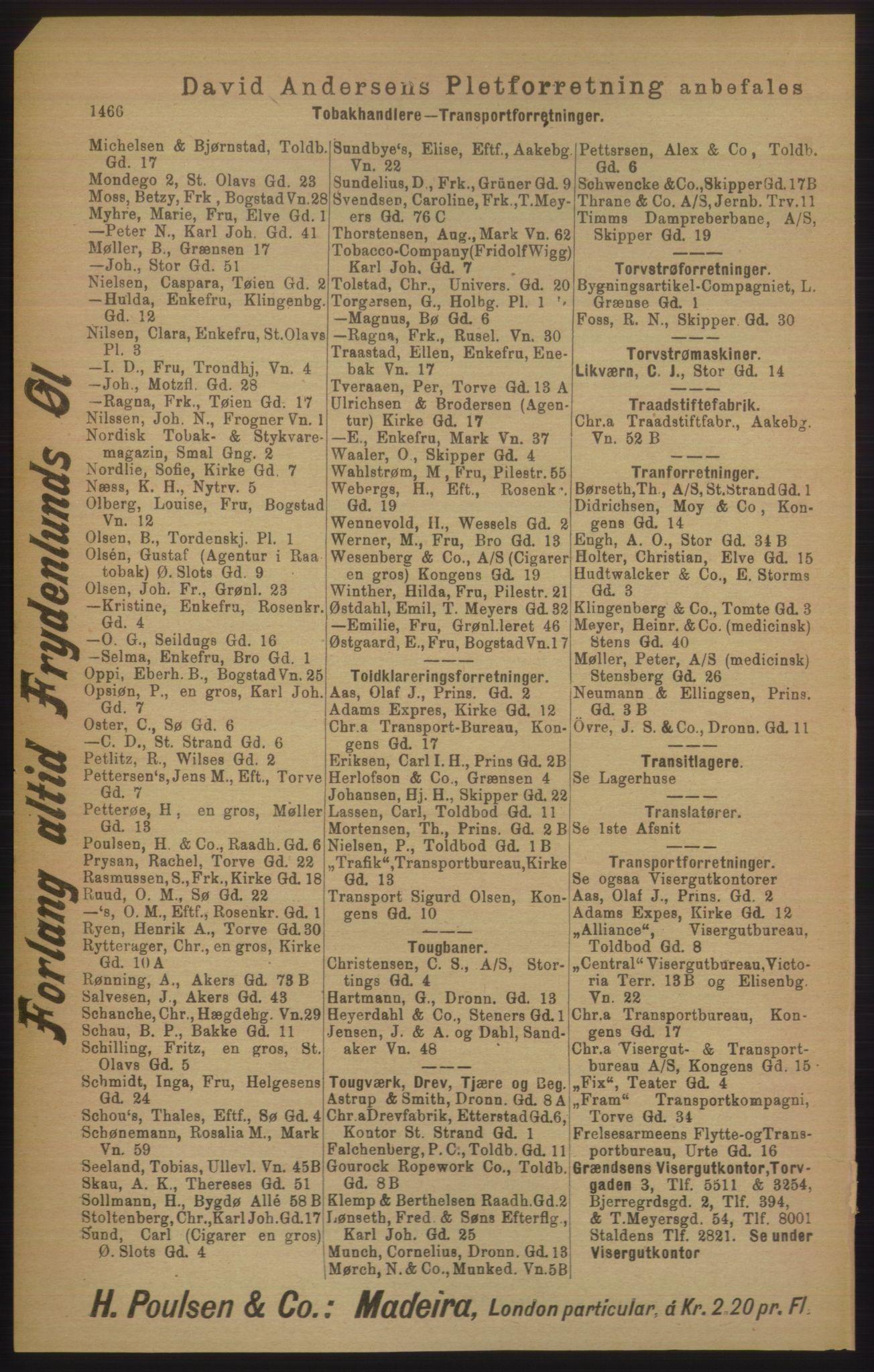PUBL, Kristiania/Oslo adressebok, 1906, s. 1466